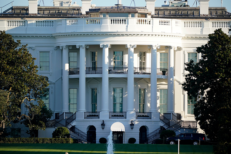 The White House is seen in Washington, early Saturday, Oct. 3, 2020, the morning after President Donald Trump was taken to Walter Reed National Military Medical Centre after being stricken by COVID-19.