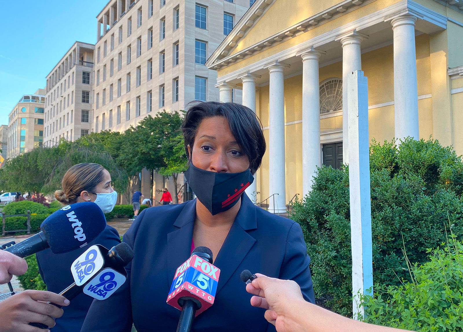 Washington Mayor Muriel Bowser speaks to the press in front of Saint Johns church on June 1.