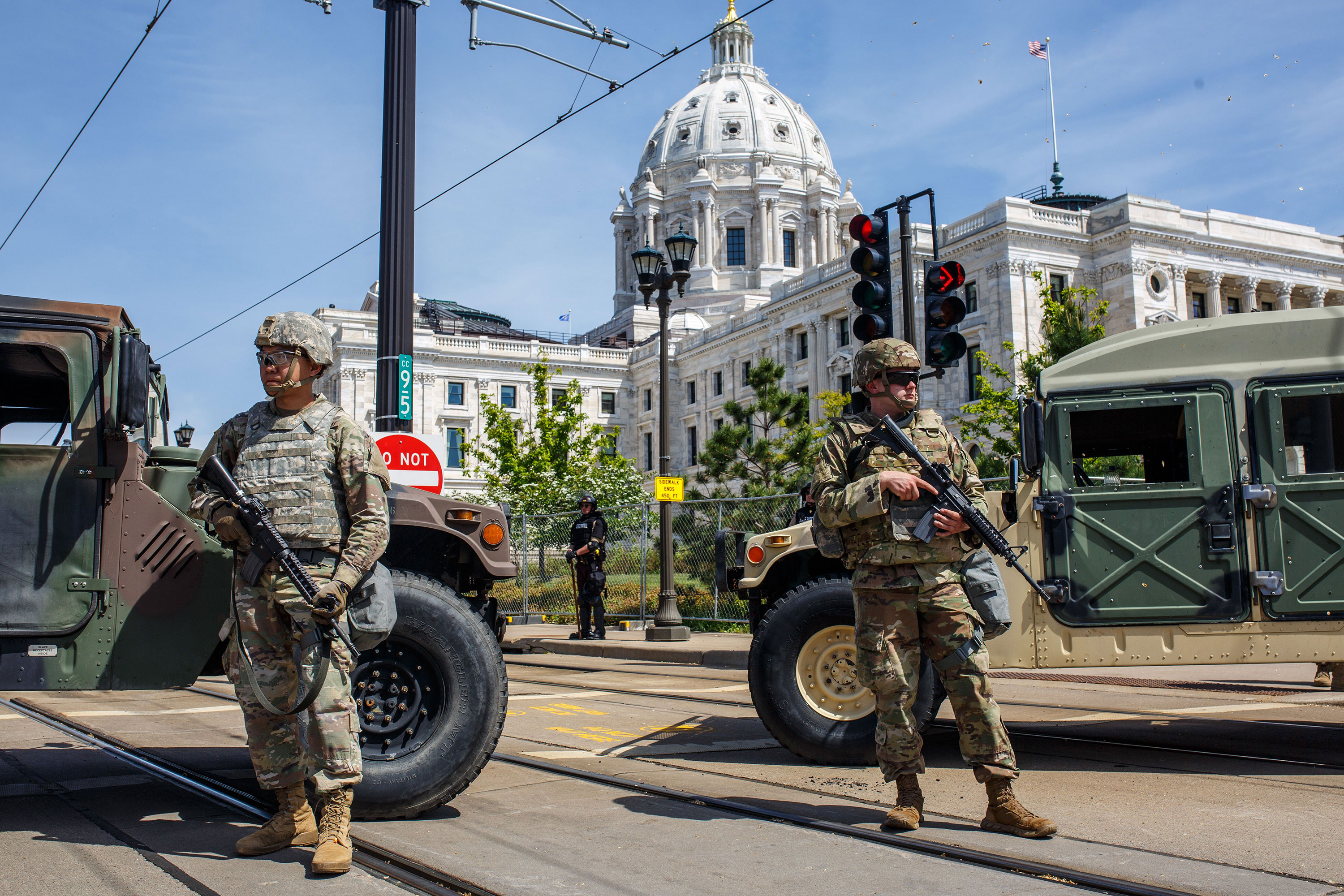 National Guard soldiers stand outside of the Minnesota Capitol in St. Paul, Minnesota, on May 31, 2020.