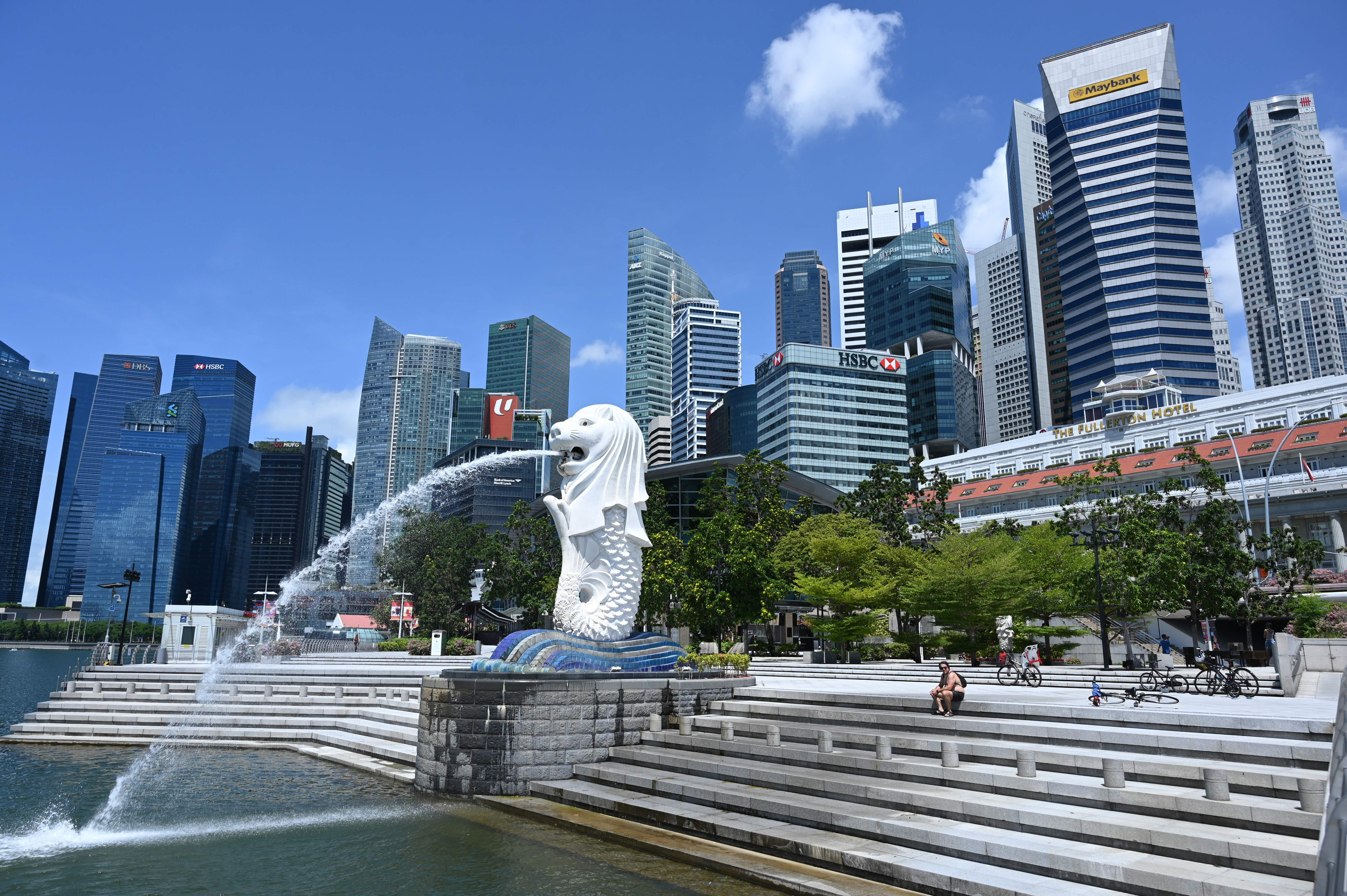 A pedestrian rests in a park in Singapore earlier this month.