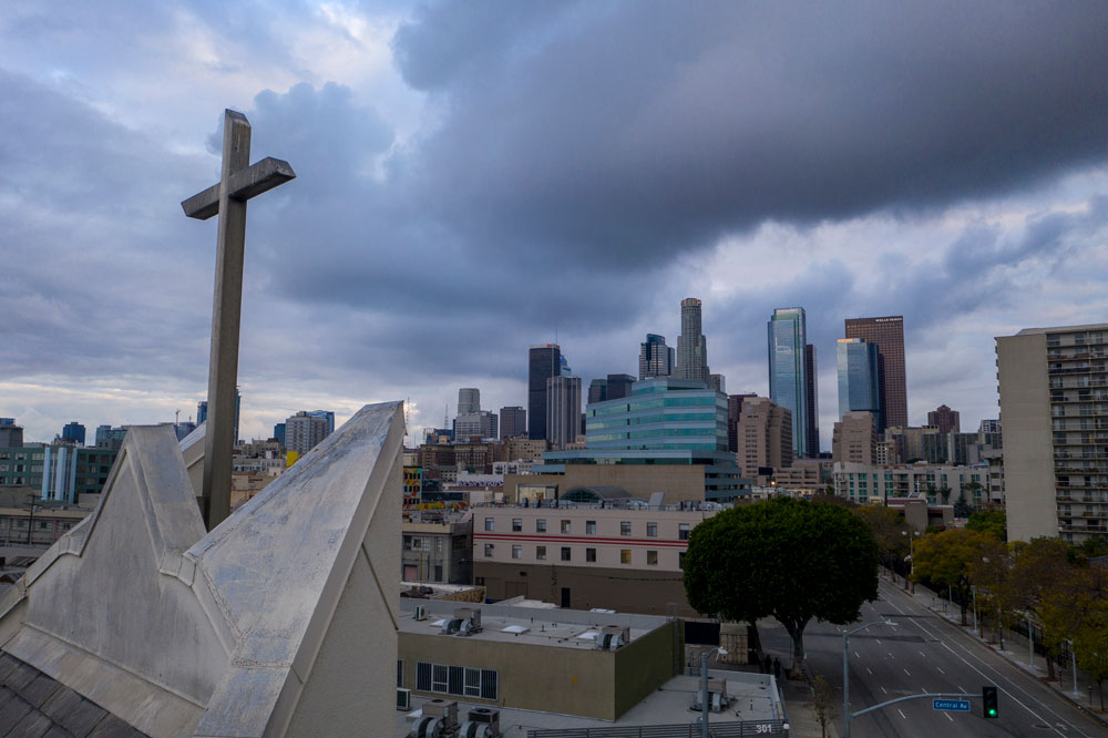 A church cross is seen in downtown Los Angeles on April 18.