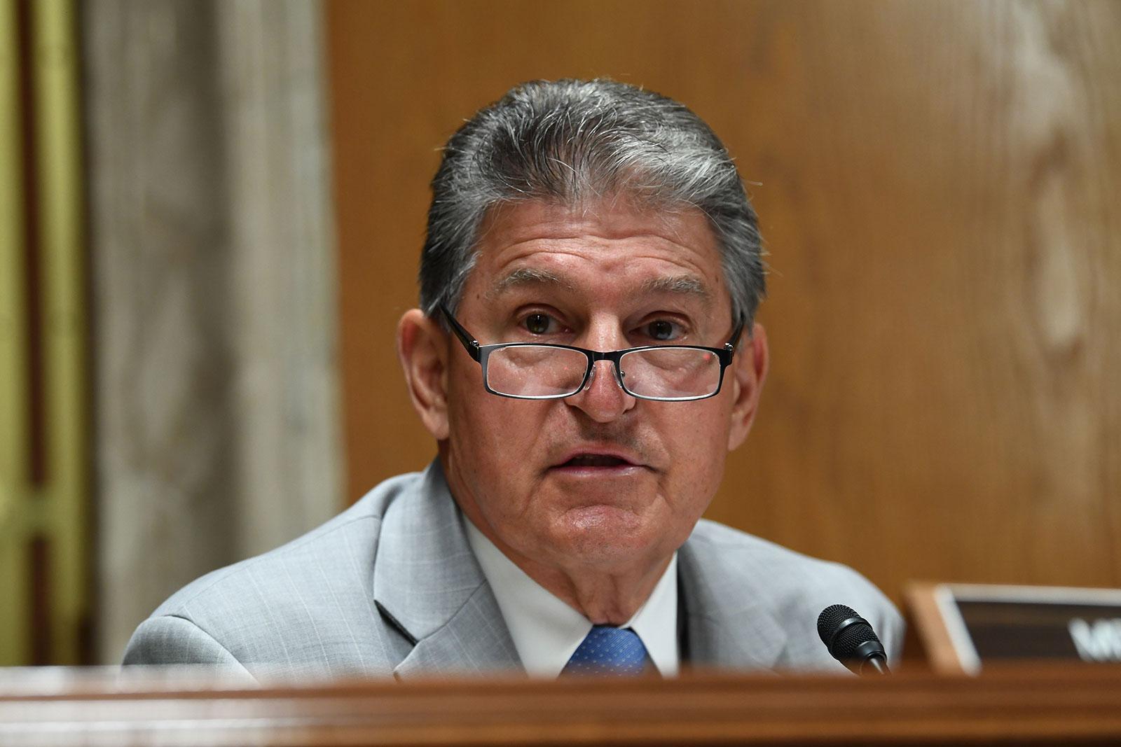 Senator Joe Manchin speaks during a hearing on June 16.