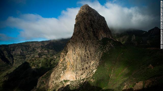 A view of the Roque de Agando in La Gomera, in Spain's Canary Islands.