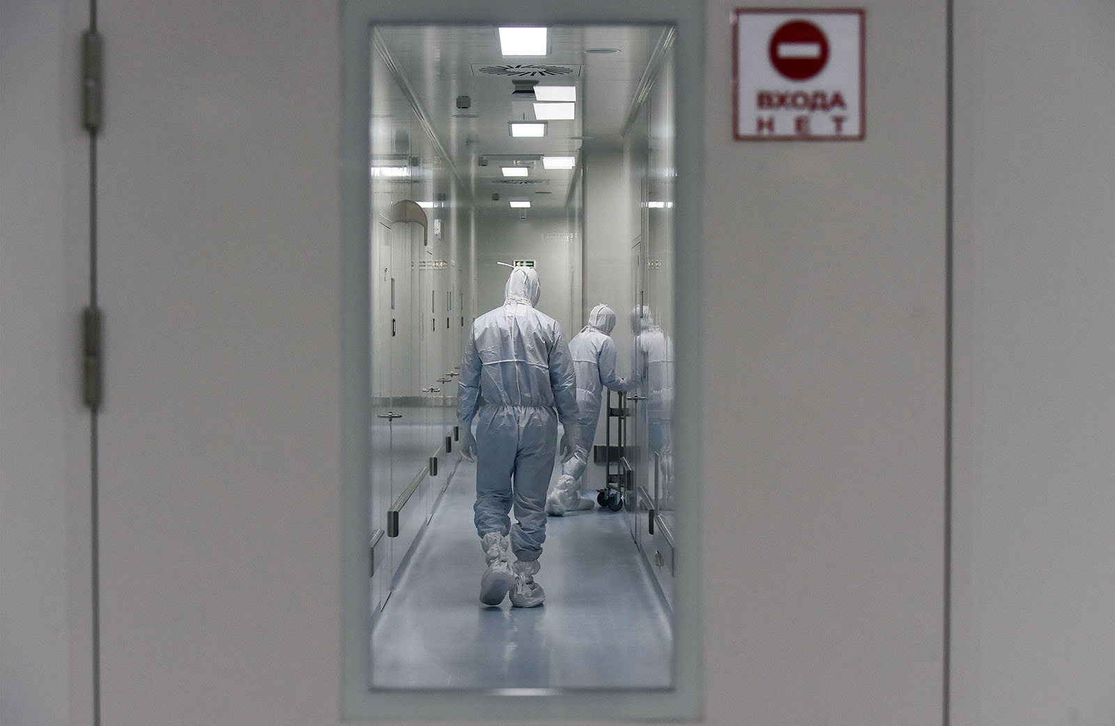 Employees are seen at Russia's biotech company BIOCAD, which is working on a coronavirus vaccine.