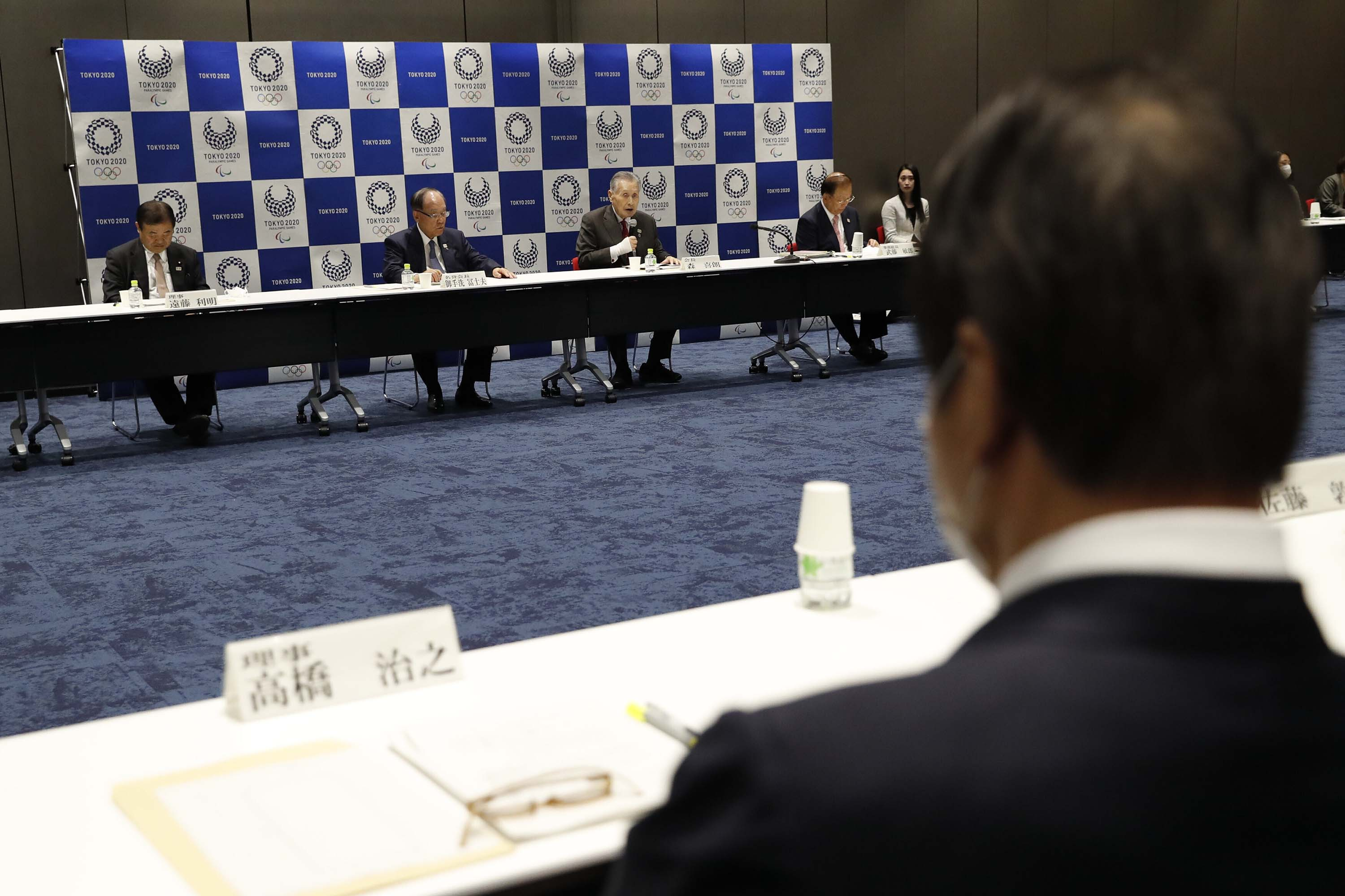 Tokyo 2020 organization committee president Yoshiro Mori, center, speaks during the Executive Board Meeting in Tokyo, Japan, on March 30.