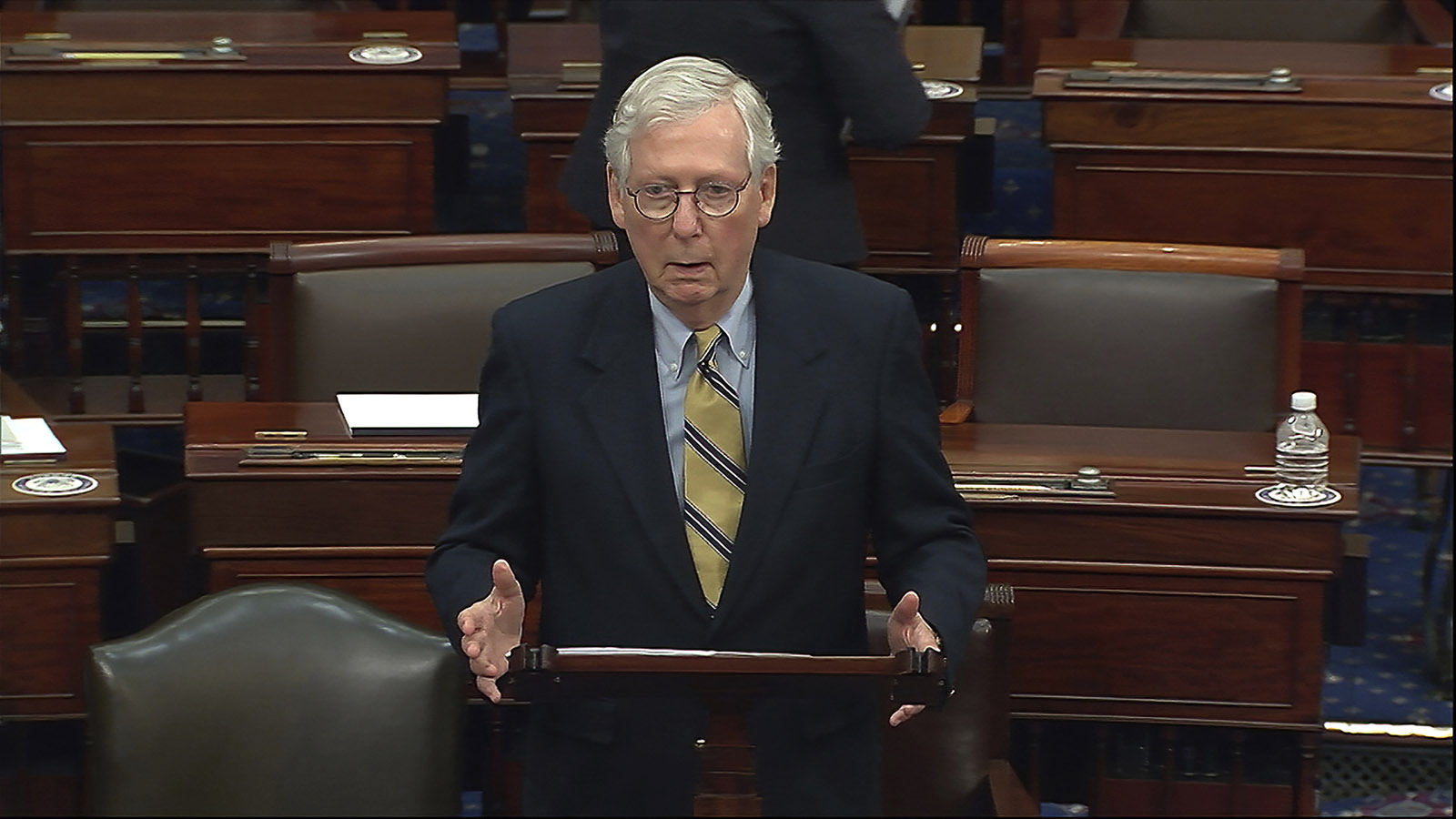 In this image from video, Senate Minority Leader Mitch McConnell of Ky., speaks after the Senate acquitted former President Donald Trump in his second impeachment trial in the Senate at the U.S. Capitol in Washington on Saturday, February 13.