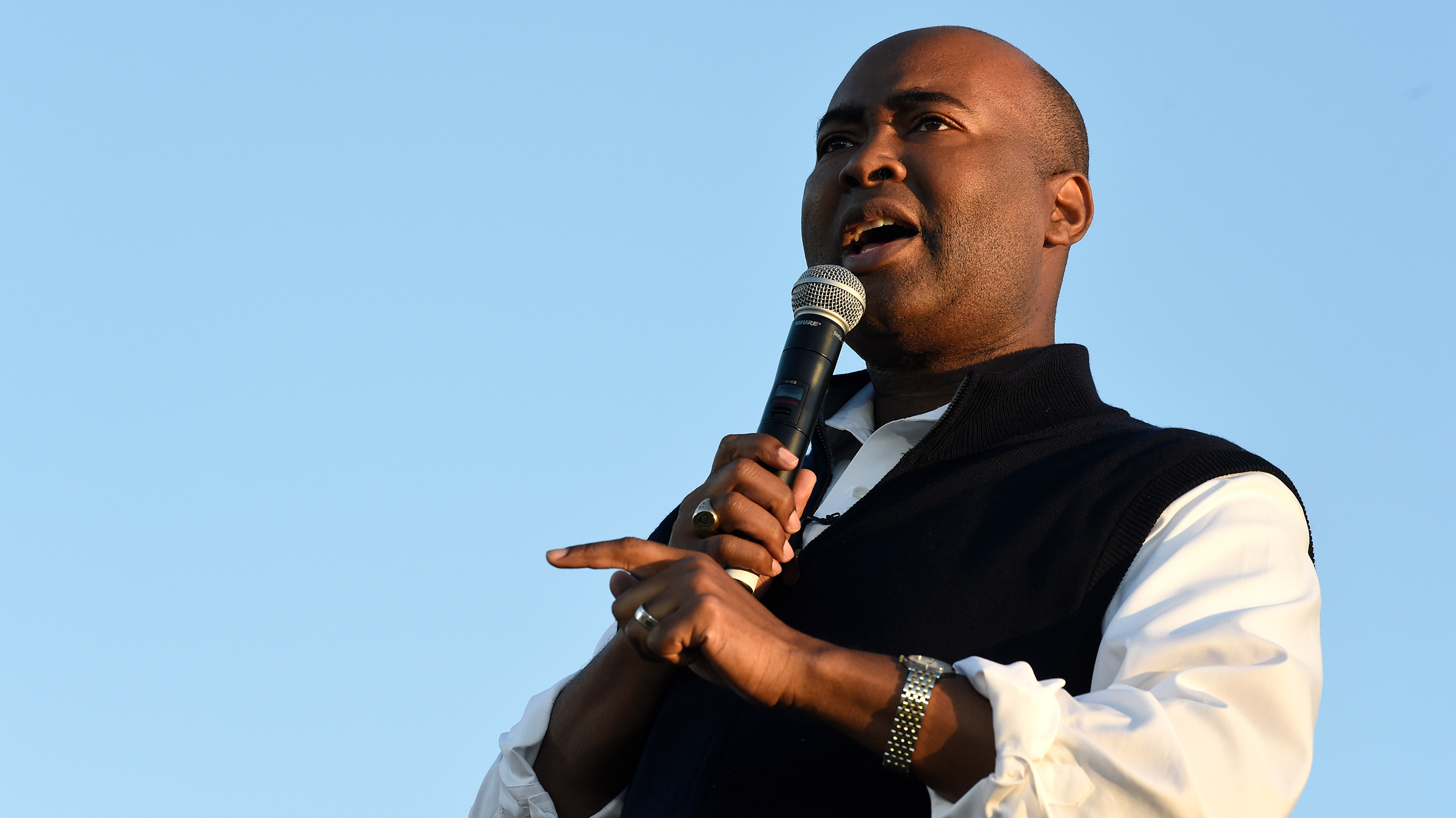 Jaime Harrison speaks at a campaign rally on October 17, 2020 in North Charleston, South Carolina.