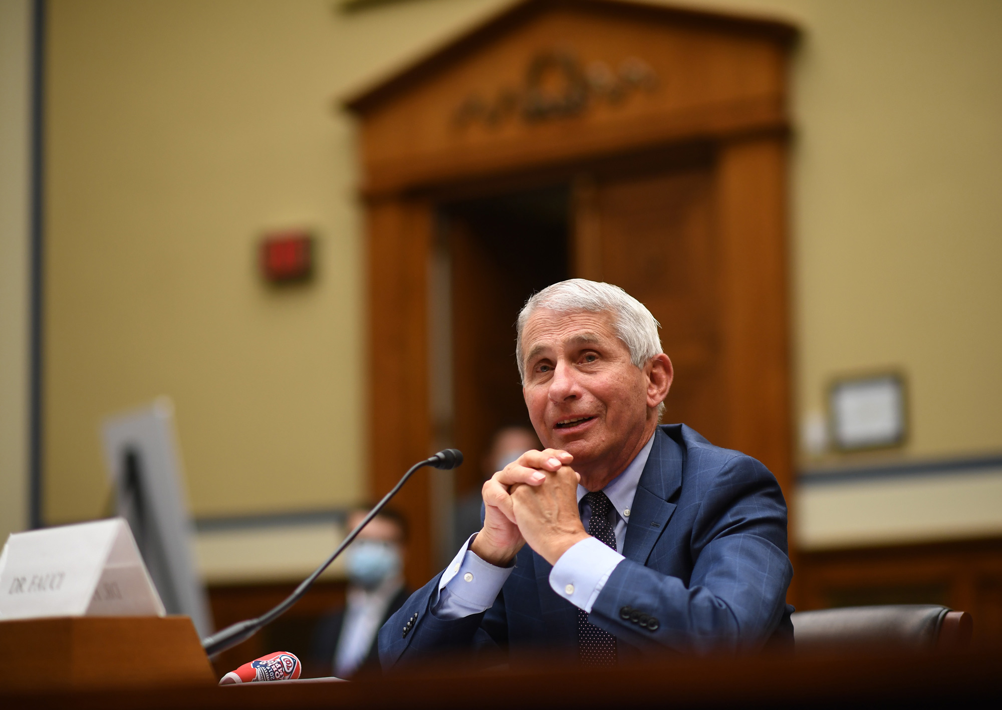 Dr. Anthony Fauci, director of the National Institute for Allergy and Infectious Diseases, testifies before a House Subcommittee on July 31 in Washington, DC.
