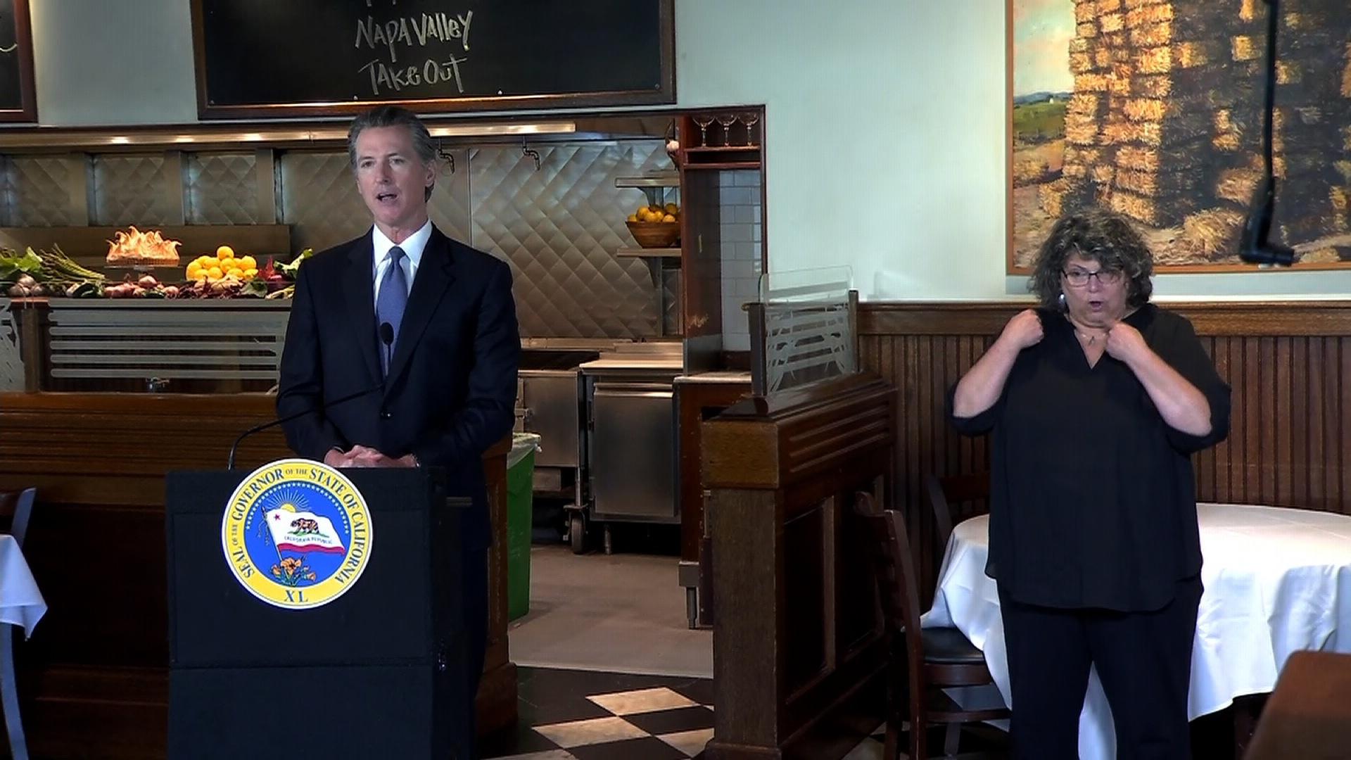 California Gov. Gavin Newsom speaks during a press conference in Sacramento, California, on May 18.