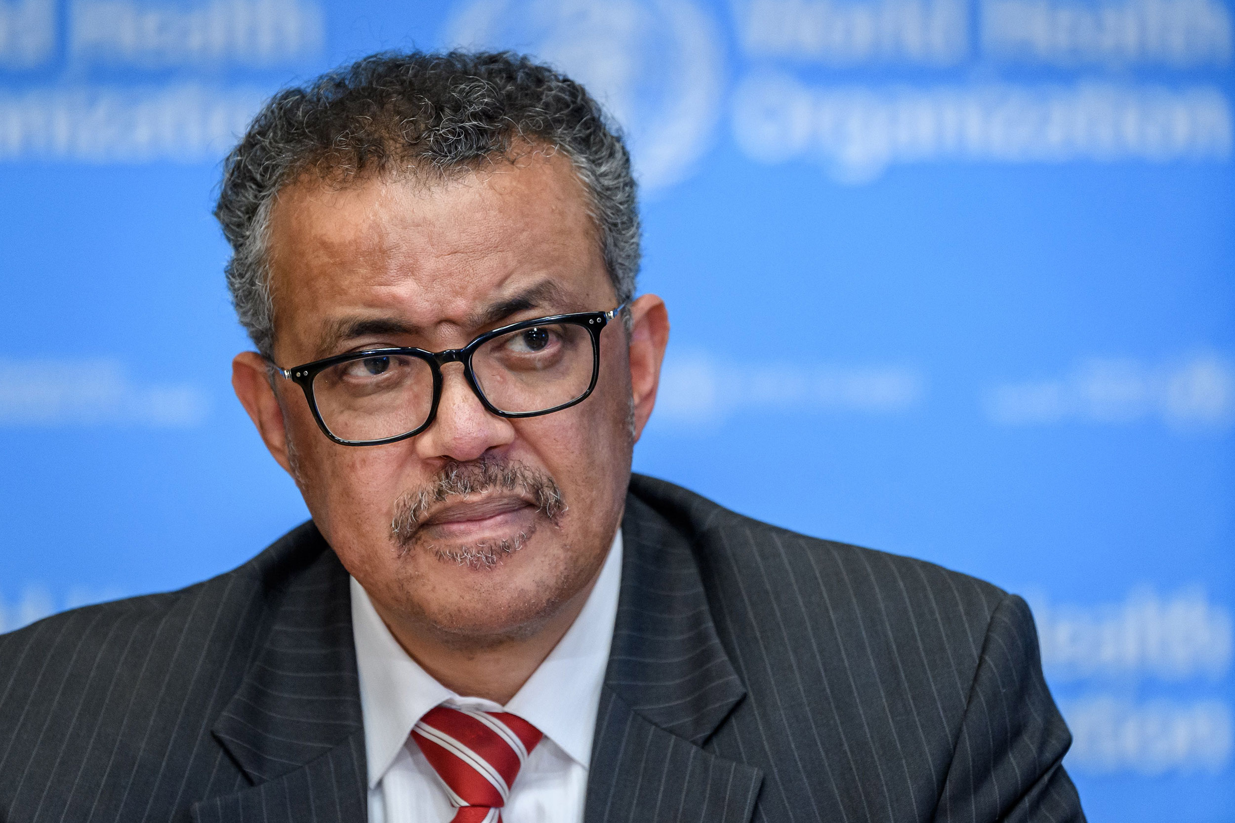 WHO Director-General Tedros Adhanom Ghebreyesus attends a Covid-19 press briefing at the agency's HQ in Geneva, Switzerland, on March 11.