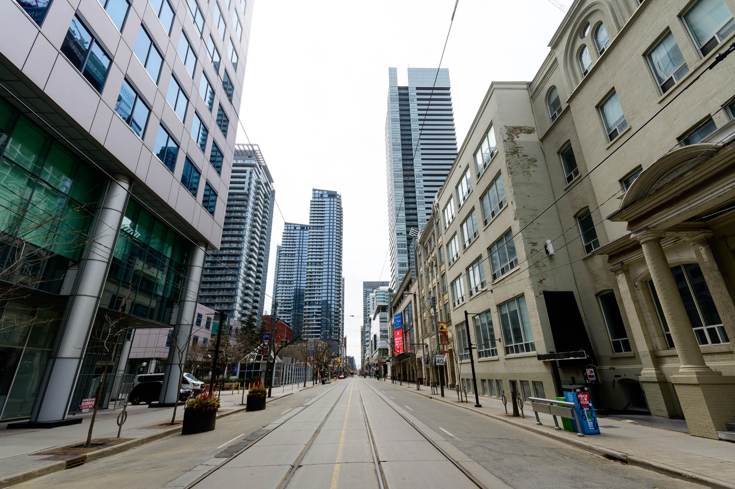 An empty street is seen in Toronto, Canada on April 23.