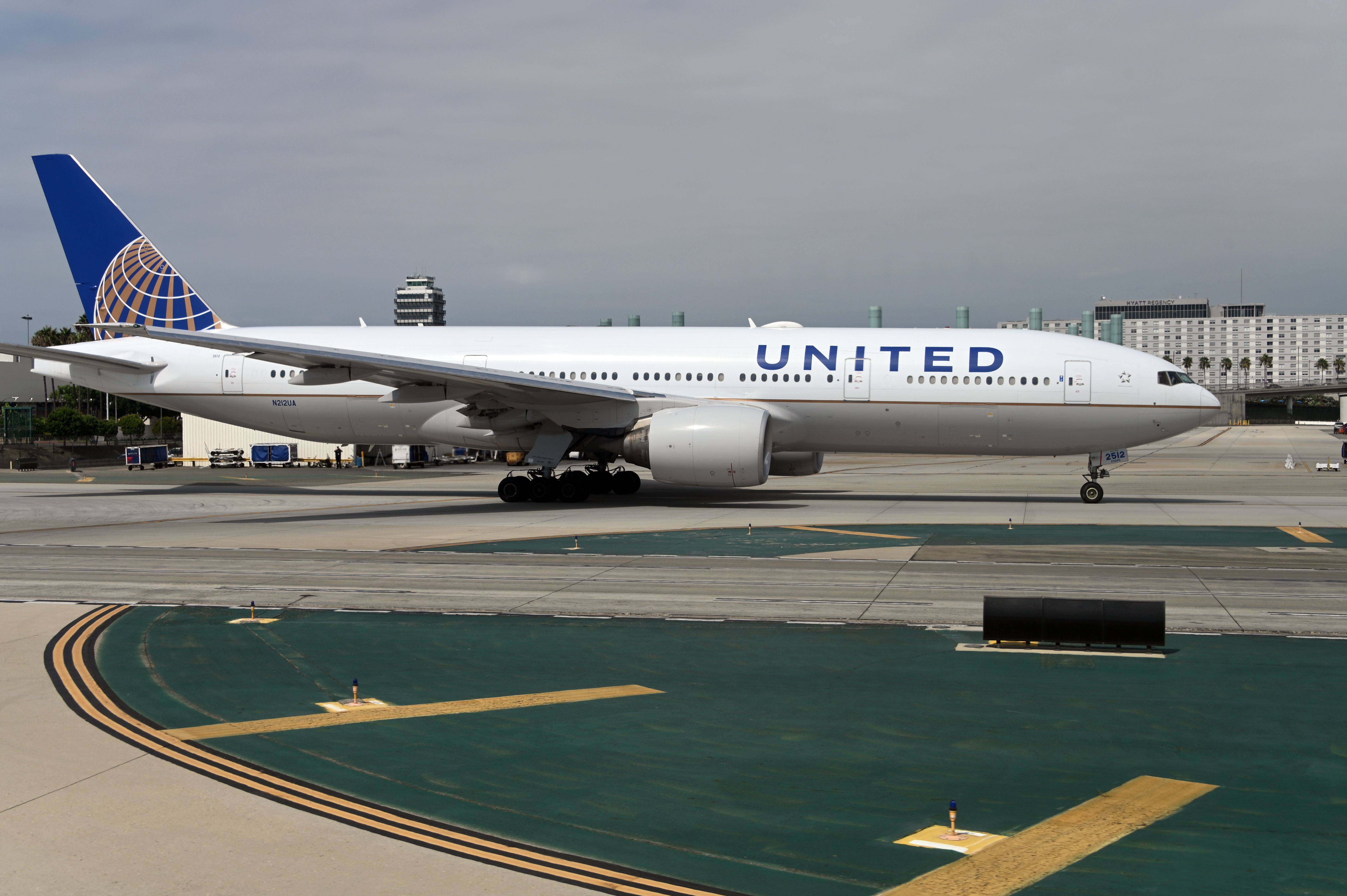 A United Airlines plane taxis at Los Angeles International Airport.