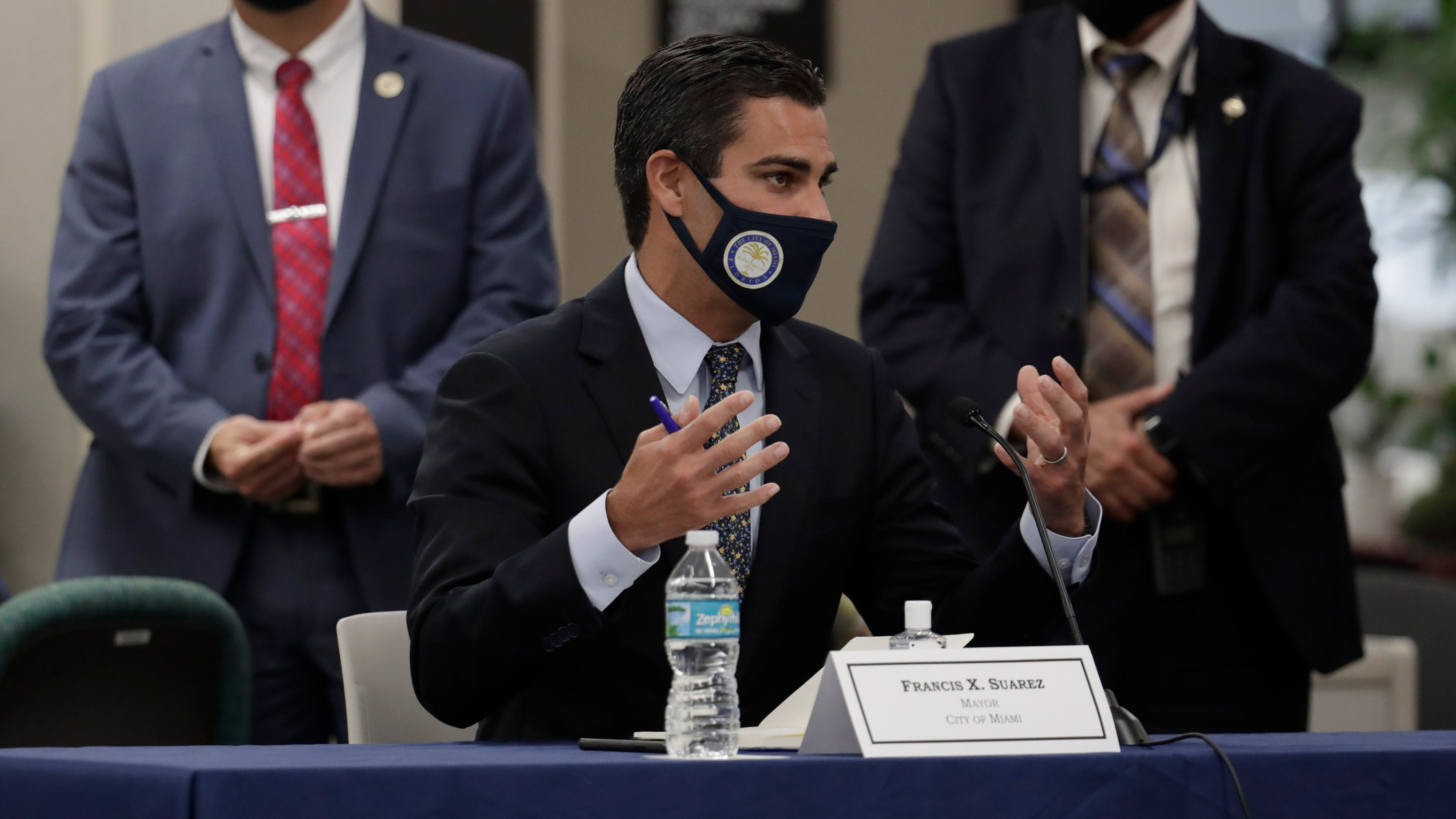Miami Mayor Francis Suarez speaks during a roundtable discussion on July 14 in Miami.