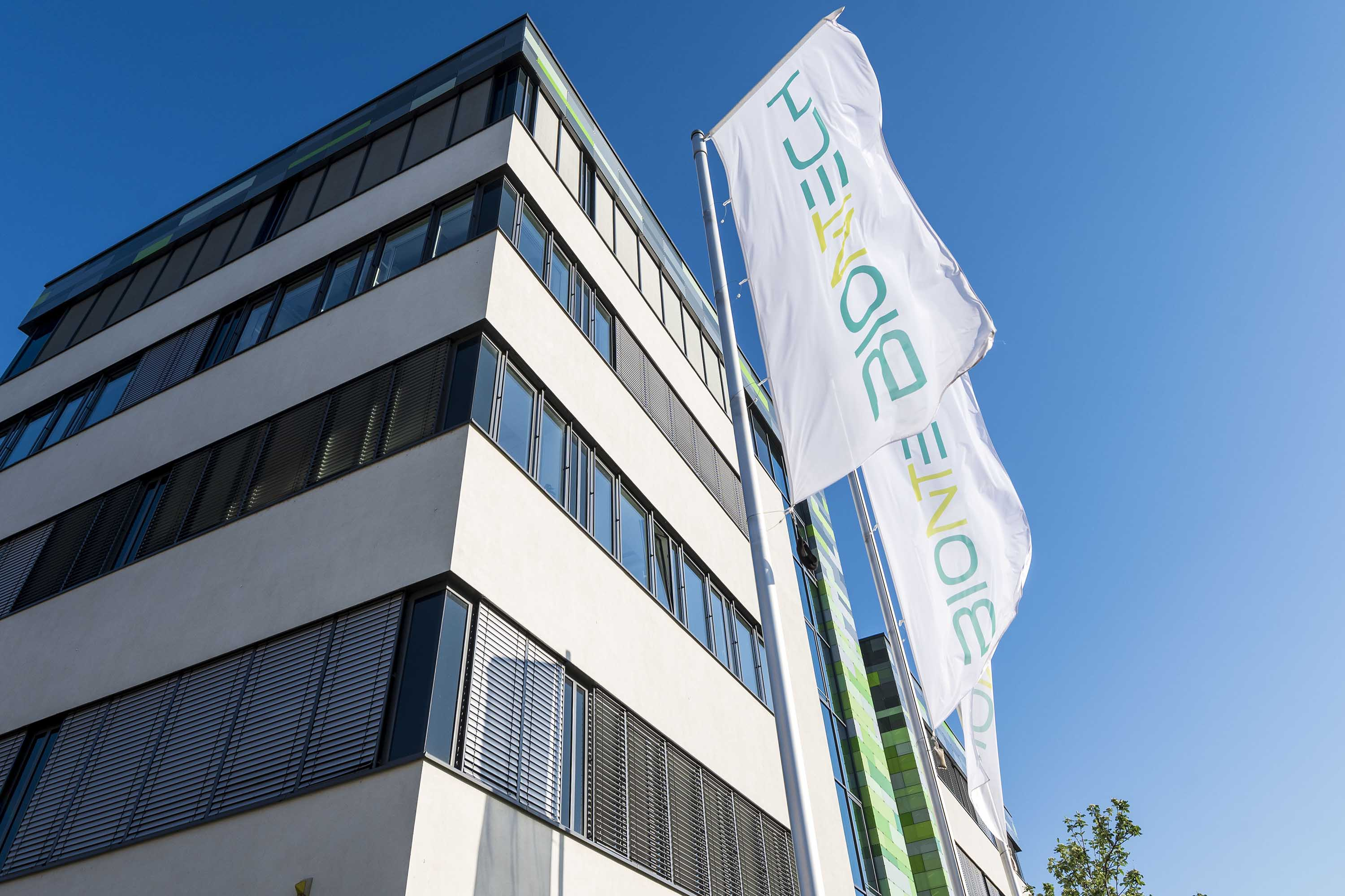 The headquarters of German company BioNTech is pictured on April 22, in Mainz, Germany.