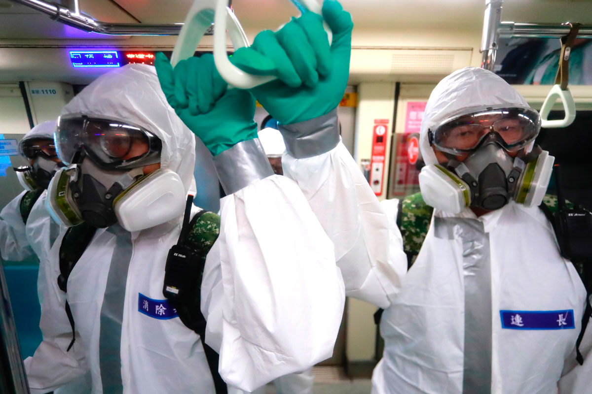 Chemical troops under the Taiwan Defense Ministry disinfect public transport in Taipei, Taiwan on on May 25 following a dramatic surge of Covid-19 cases.