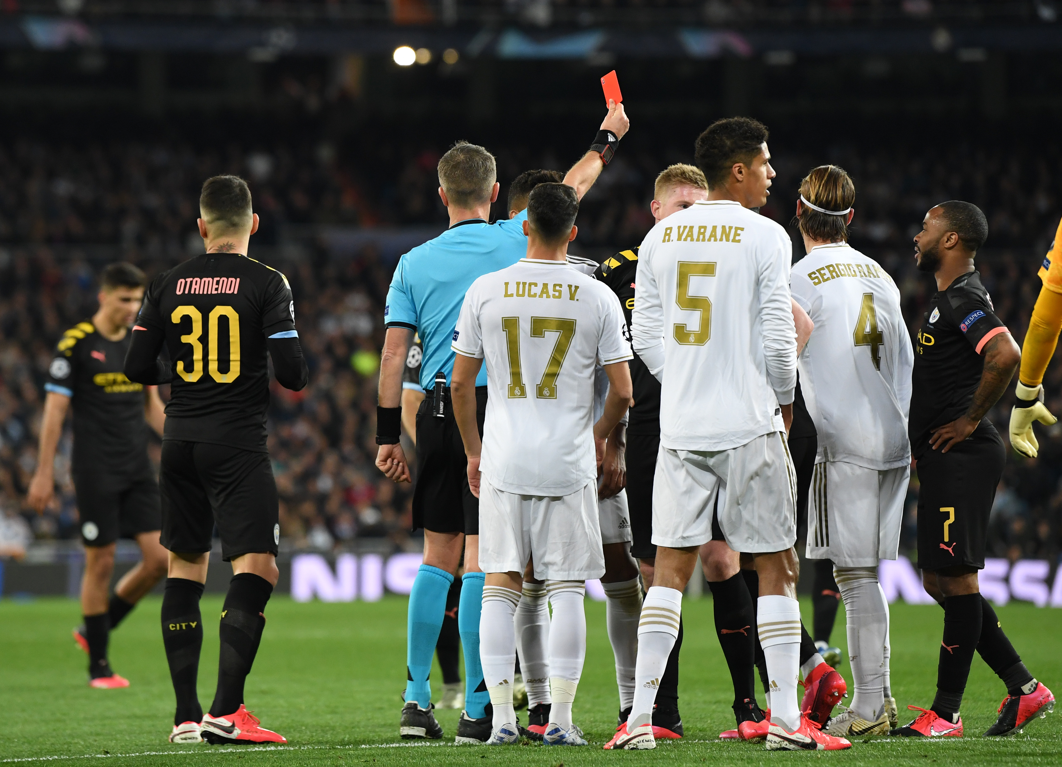 Sergio Ramos receives his marching orders.