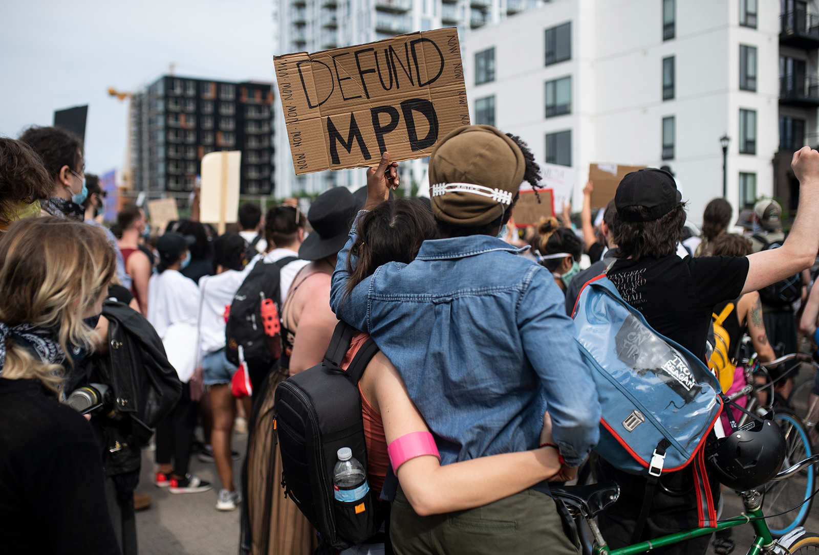 Demonstrators calling to defund the Minneapolis Police Department march on University Avenue on June 6, in Minneapolis, Minnesota.