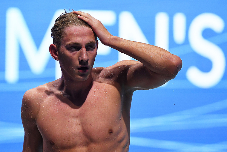 Russia's Ilya Borodin reacts after winning the final of the Mens 400m Individual Medley Swimming event during the LEN European Aquatics Championships at the Duna Arena in Budapest on May 23.