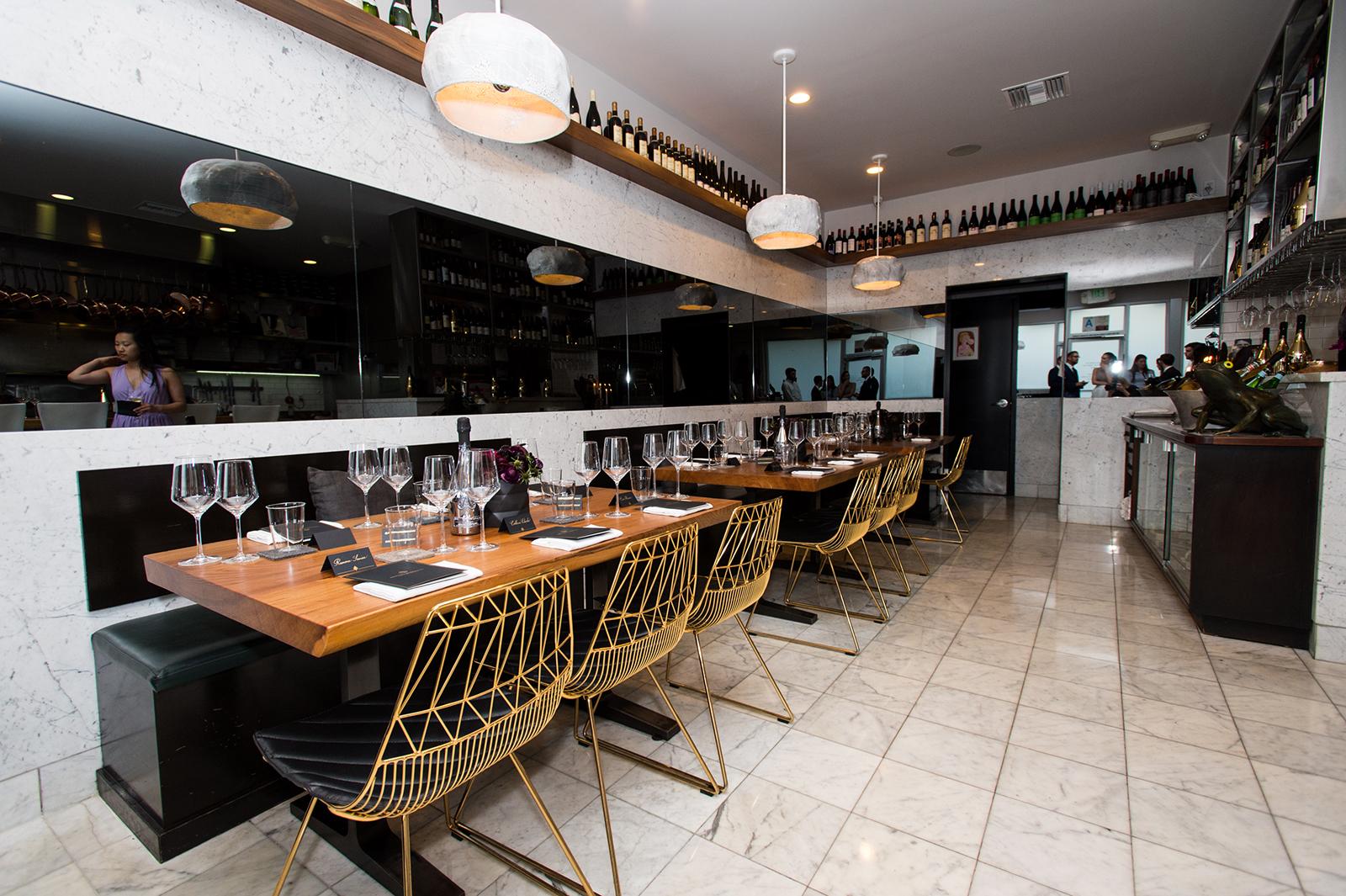 A view of Trois Mec restaurant at Champagne Armand de Brignac's Noir Dinner at Trois Mec on April 25, 2017 in Los Angeles.