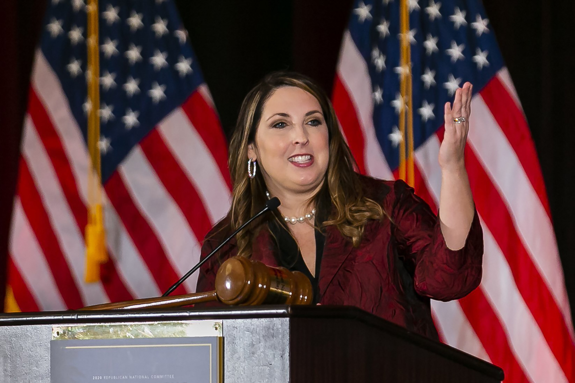 Ronna Romney McDaniel, chair of the Republican National Committee, speaks during the RNC winter meeting at the Trump National Doral Resort in Miami, on Friday, January 24.