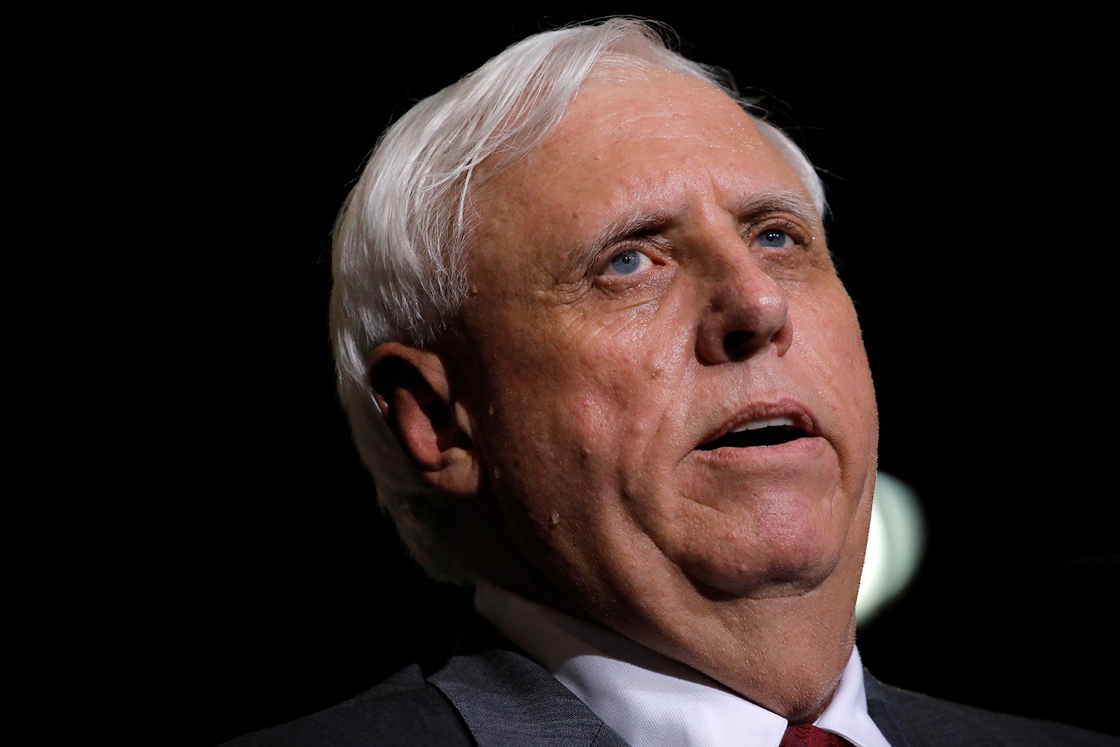 Gov. Jim Justice speaks during a rally in Huntington, West Virginia on August 3, 2017.