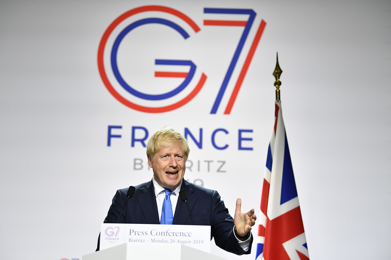 British Prime Minister Boris Johnson speaks during a press conference at the conclusion of the G7 summit in Biarritz, France, on August 24, 2019.
