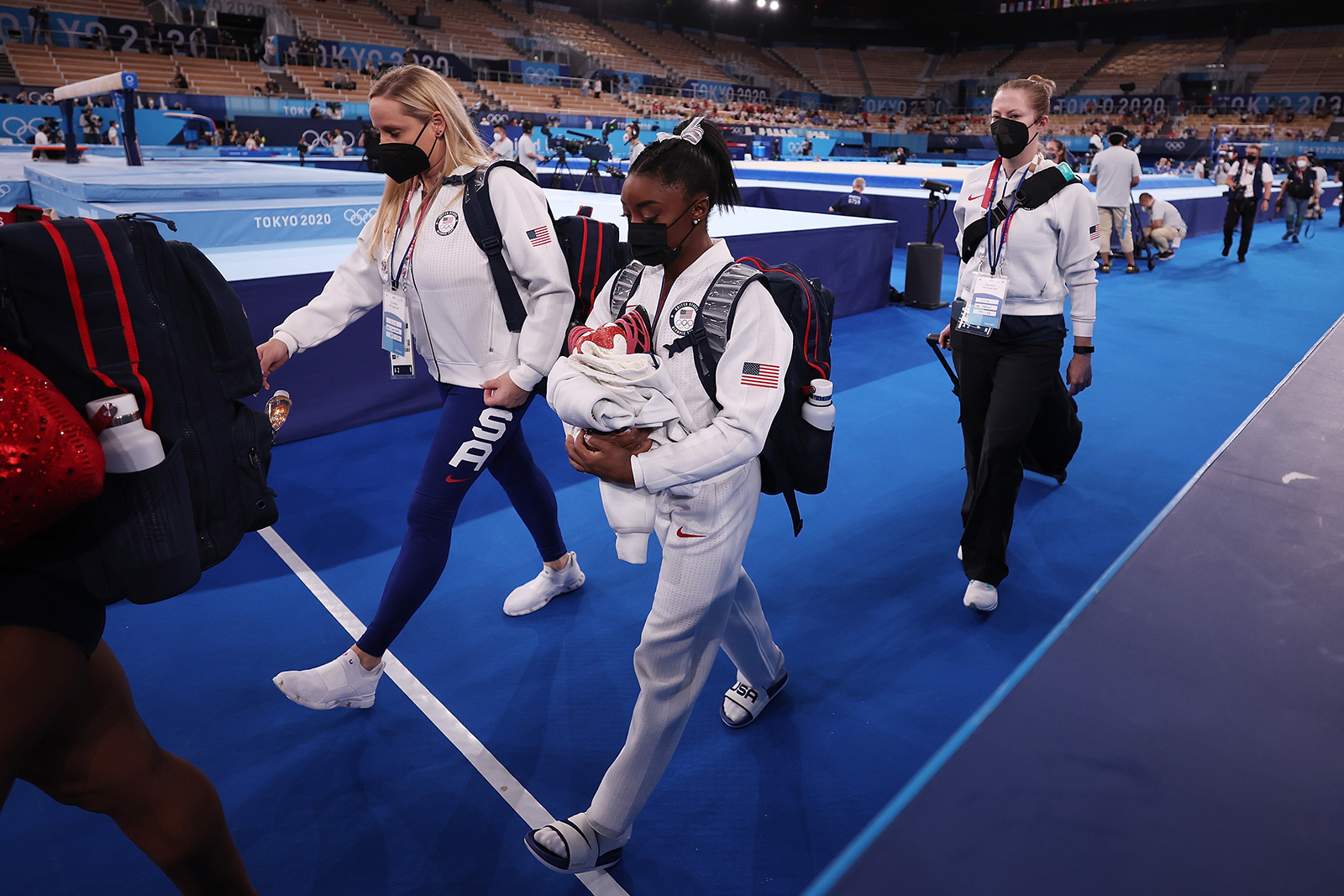 USA gymnast Simone Biles walks off the floor during the women's gymnastics team final on July 27.