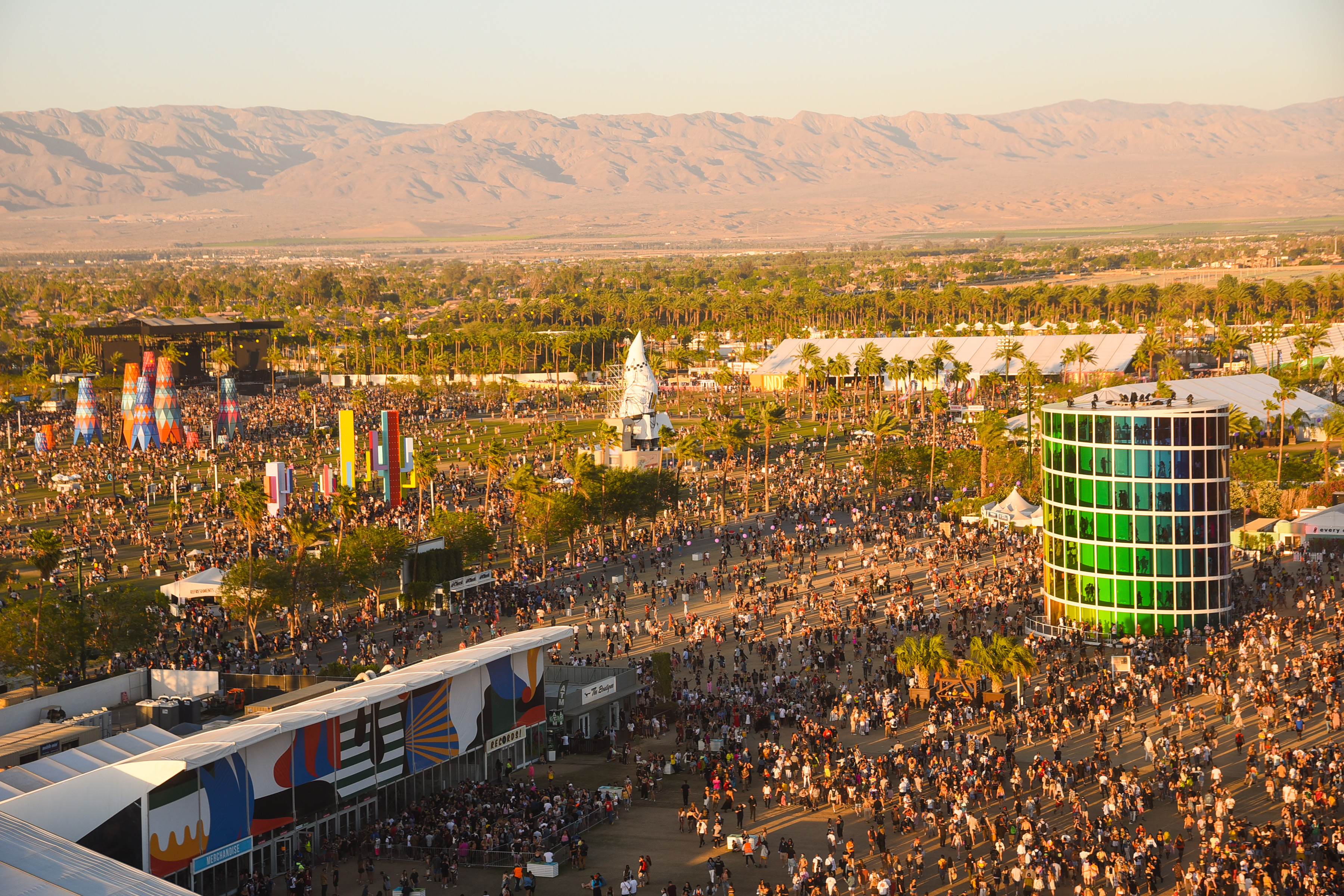 People attend the 2019 Coachella Valley Music And Arts Festival in Indio, California.