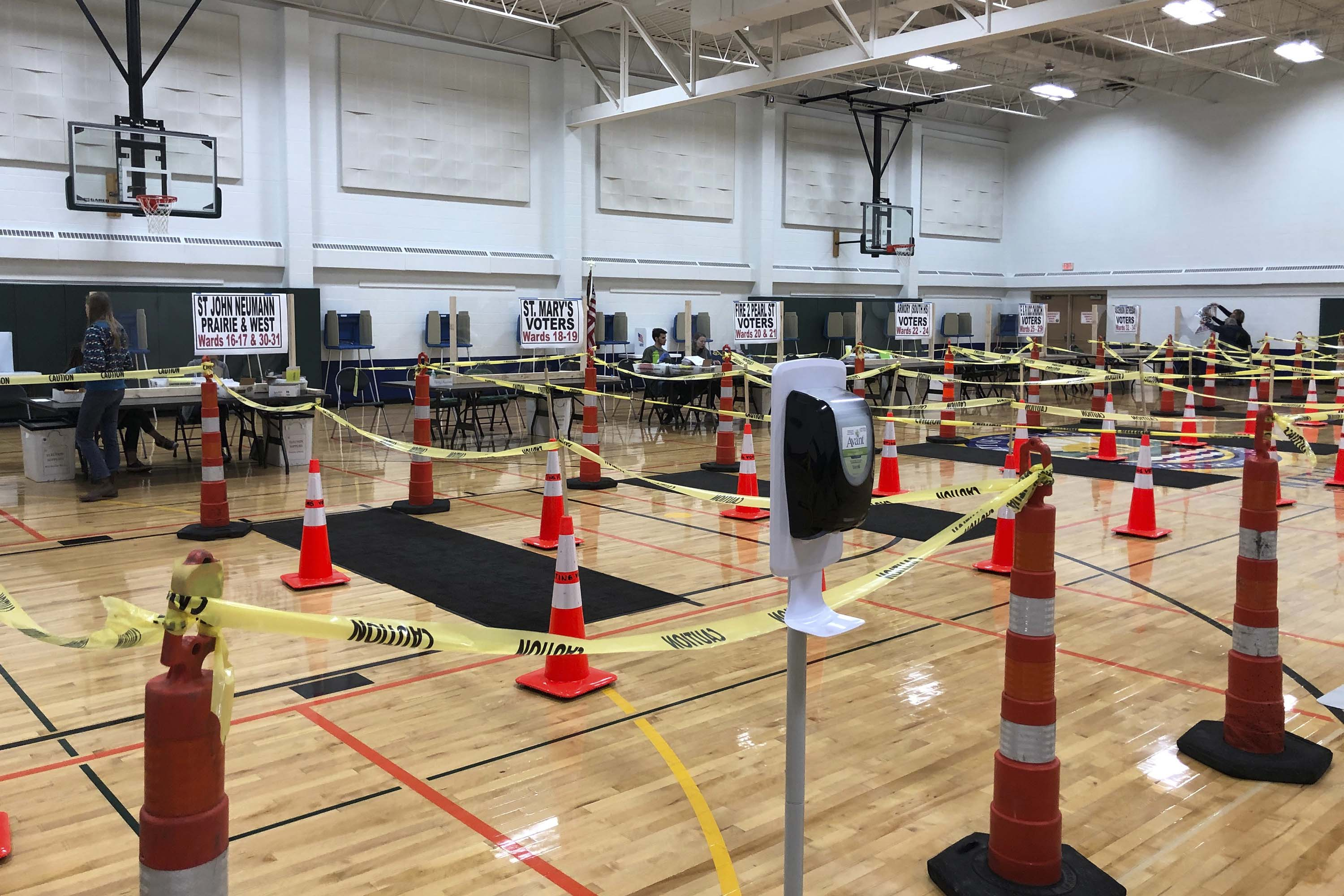 A polling station set-up is pictured in Waukesha, Wisconsin, on April 6.