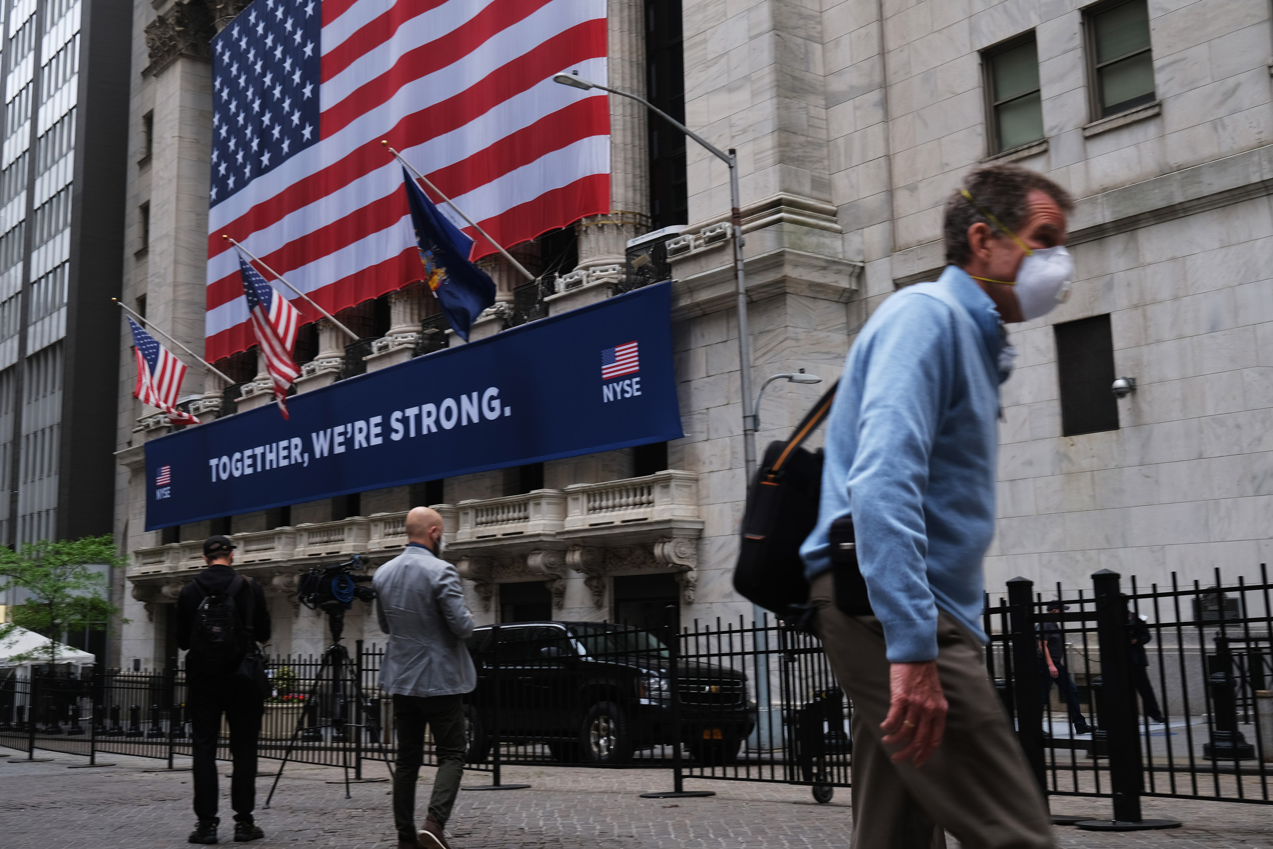 The New York Stock Exchange stands in lower Manhattan on May 26 in New York.