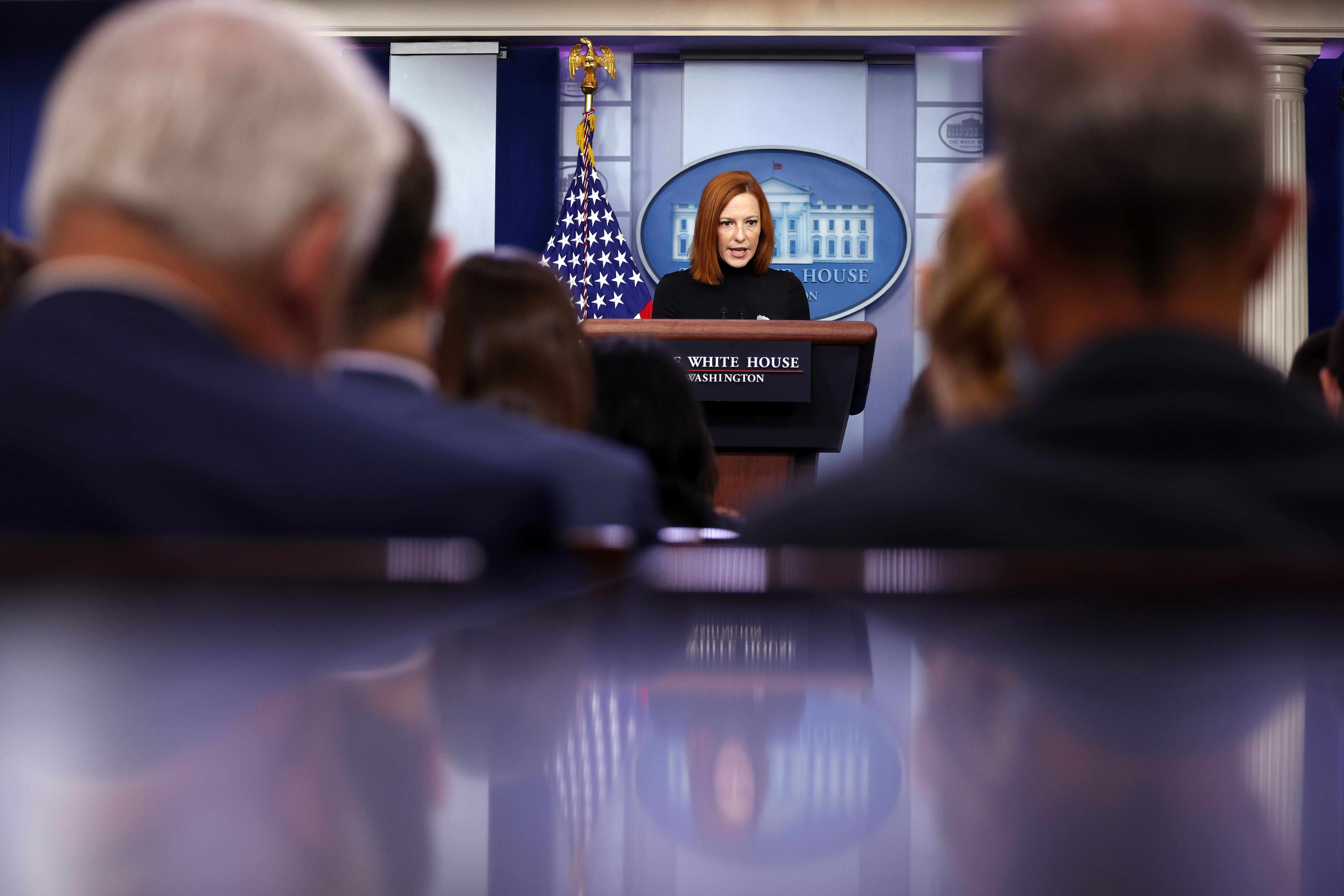 White House press secretary Jen Psaki speaks during a briefing at the White House on September 10.