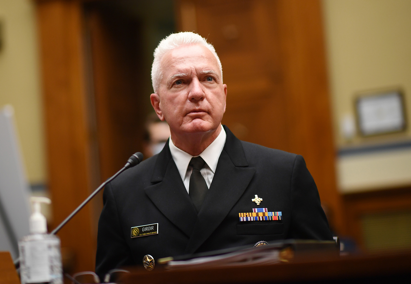 Admiral Brett Giroir, director of the coronavirus diagnostic testing, looks on as he testifies during a House Subcommittee on the Coronavirus Crisis hearing on a national plan to contain the Covid-19 pandemic, on Capitol Hill in Washington, on July 31.