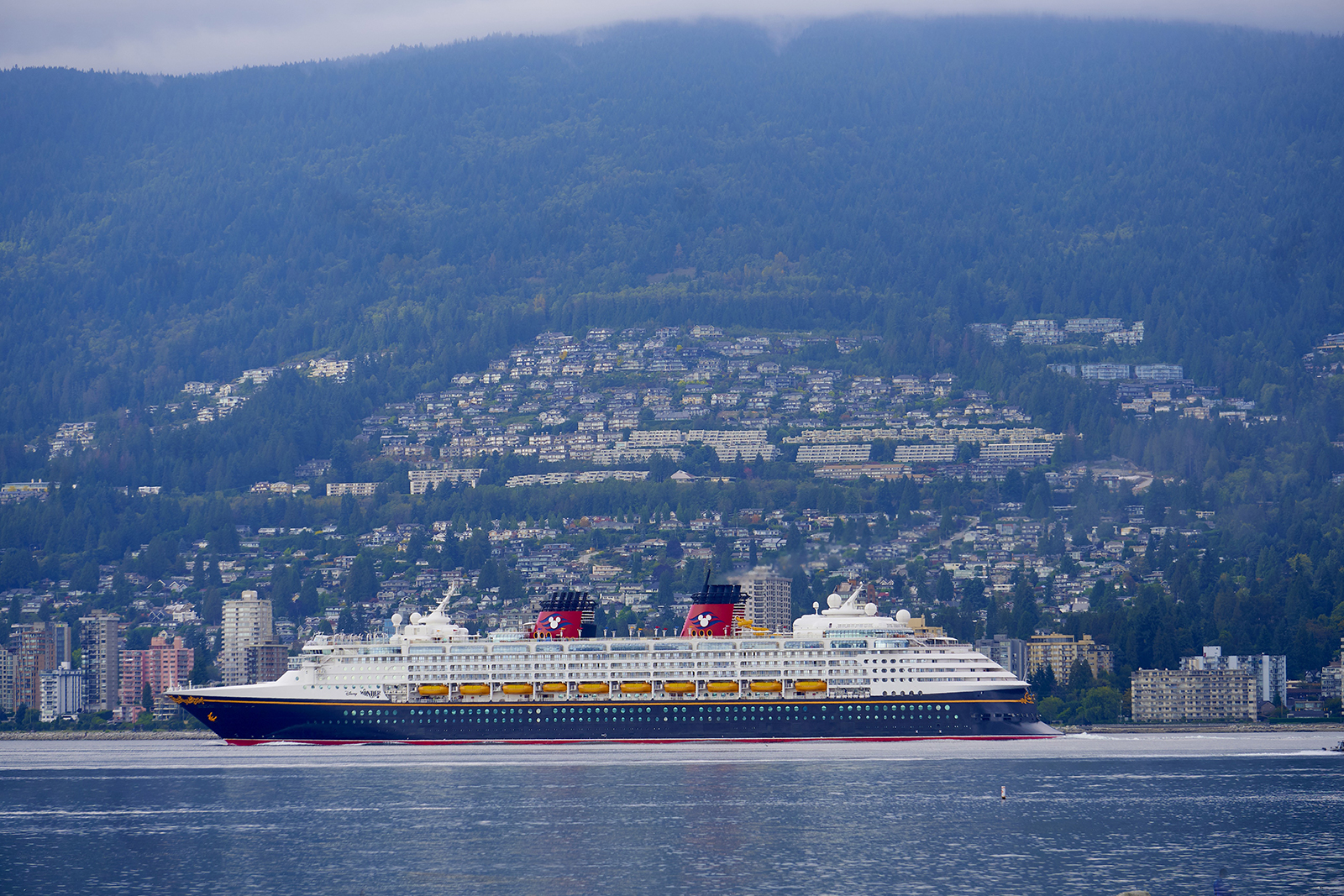 A Disney cruise liner leaves Vancouver Harbour in Canada, on September 14, 2019.