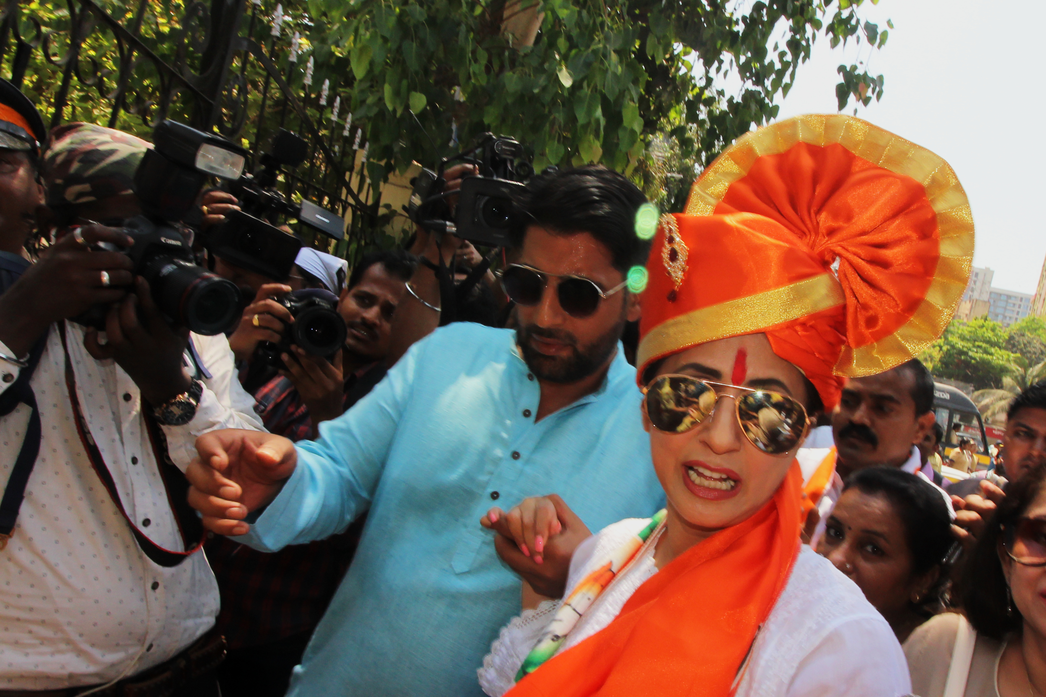 Indian bollywood actress and Congress Party candidate Urmila Matondkar arrives to filing of her nomination for the upcoming Lok Sabha elections in Mumbai, India on 08 April 2019.