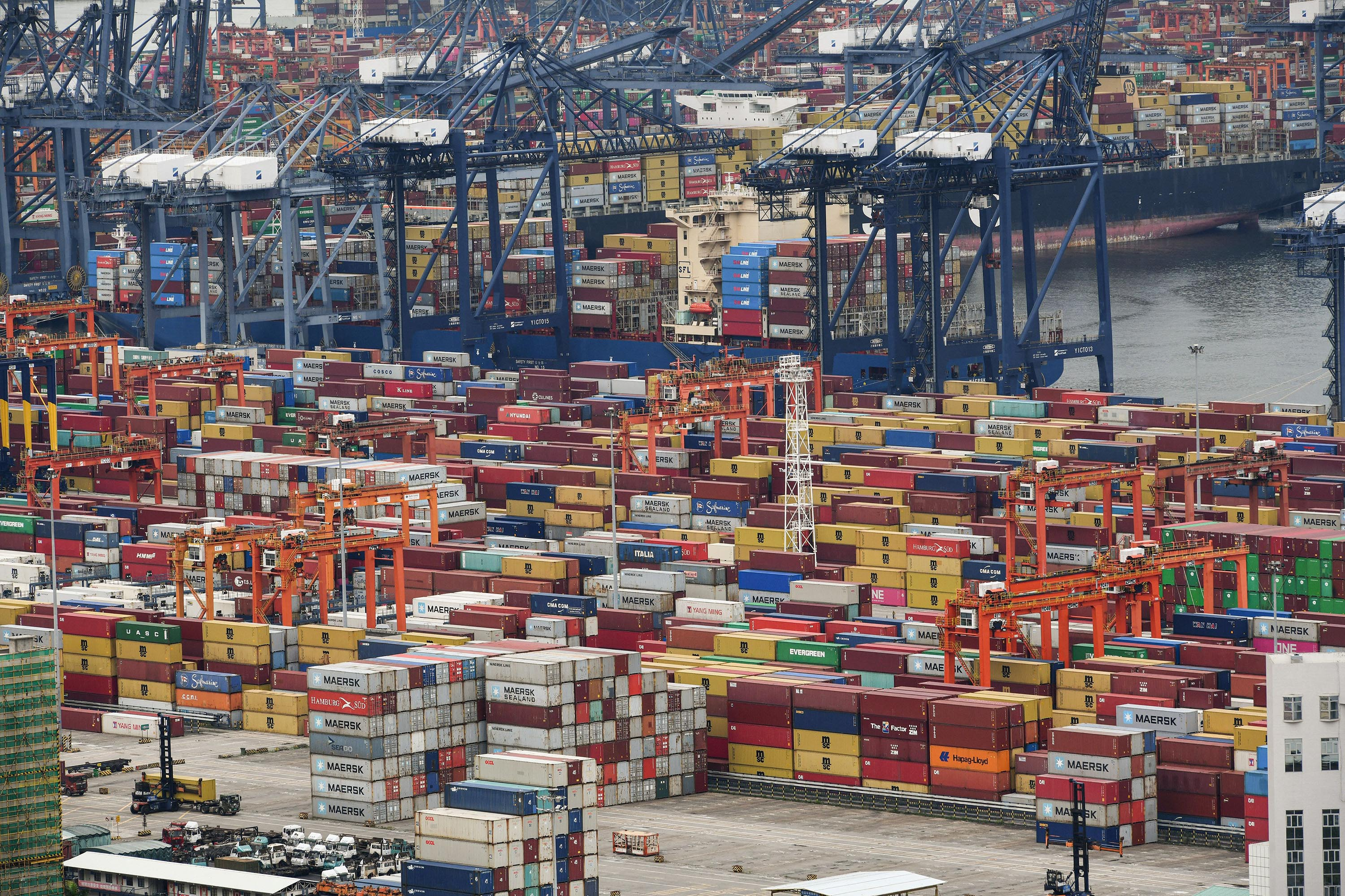 This aerial photo taken on June 22, 2021 shows cargo containers stacked at Yantian port in Shenzhen in China's southern Guangdong province.