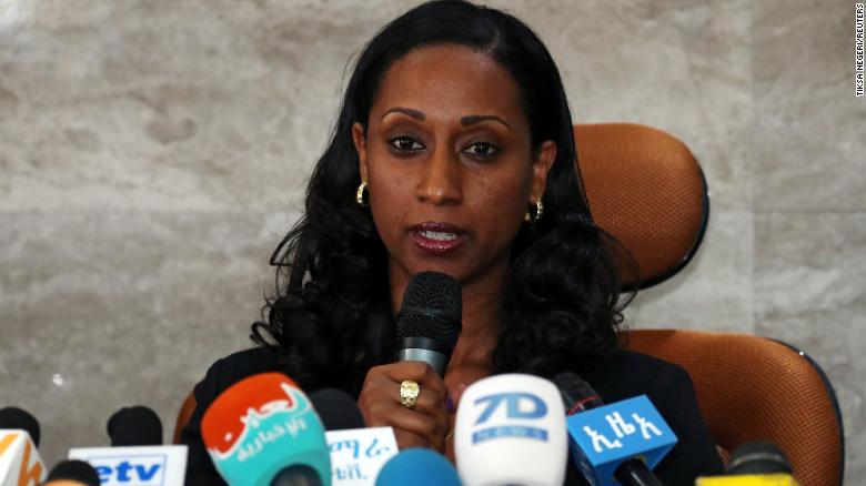 Ethiopian transport minister Dagmawit Moges addresses a news conference on the preliminary report to the Ethiopian Airlines ET 302 plane crash in Addis Ababa, Ethiopia April 4, 2019