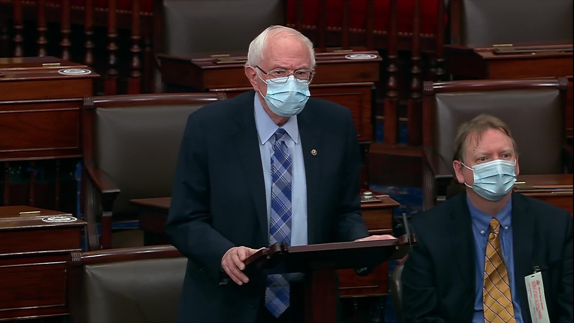 Sen. Bernie Sanders speaks on the Senate floor in Washington, DC, on December 29.