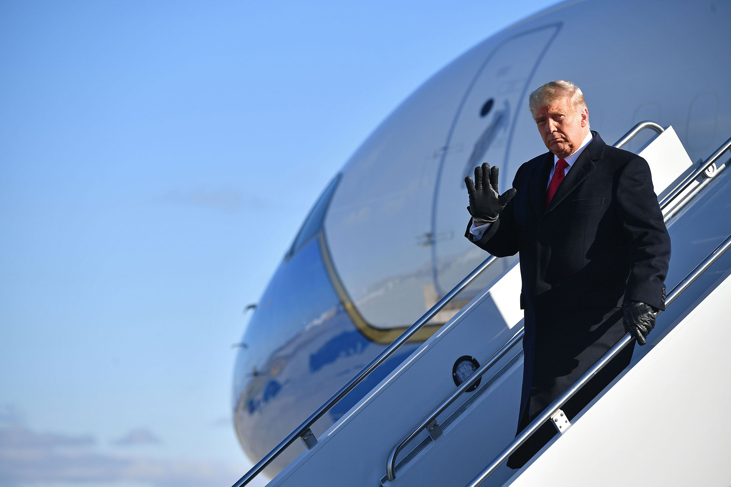 President Donald Trump arrives at a campaign rally in Green Bay, Wisconsin, on Friday, October 30.
