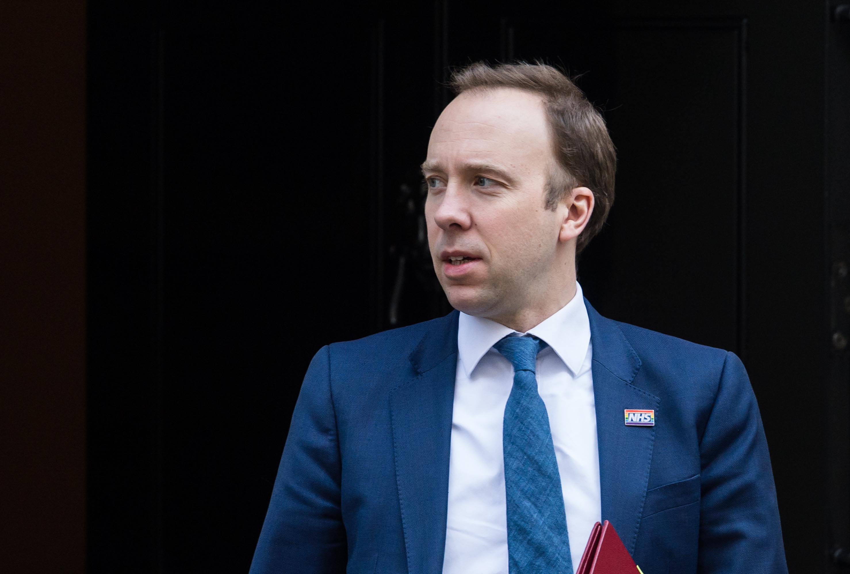 Secretary of State for Health and Social Care Matt Hancock leaves 10 Downing Street in London on March 25.