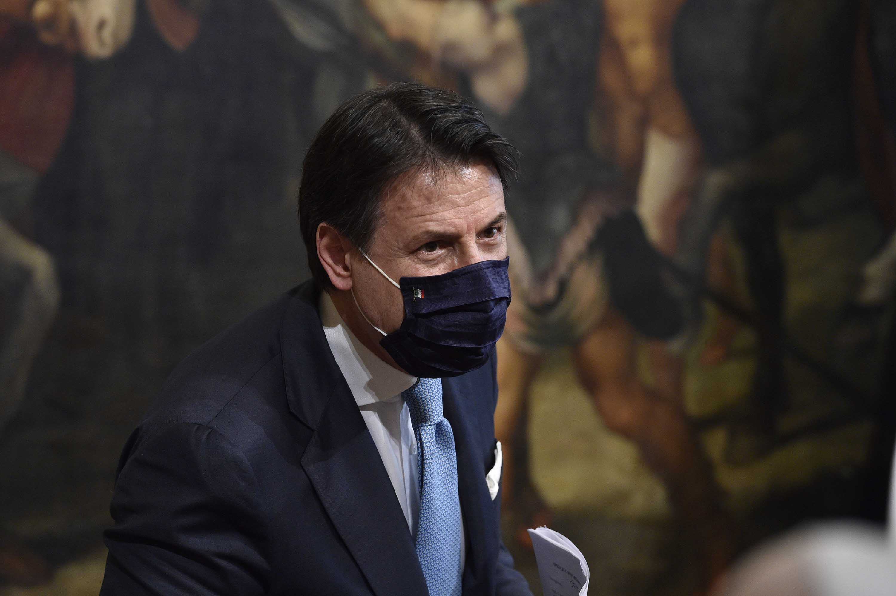 Italian Prime Minister Giuseppe Conte holds a press conference in Rome, Italy, on July 7.