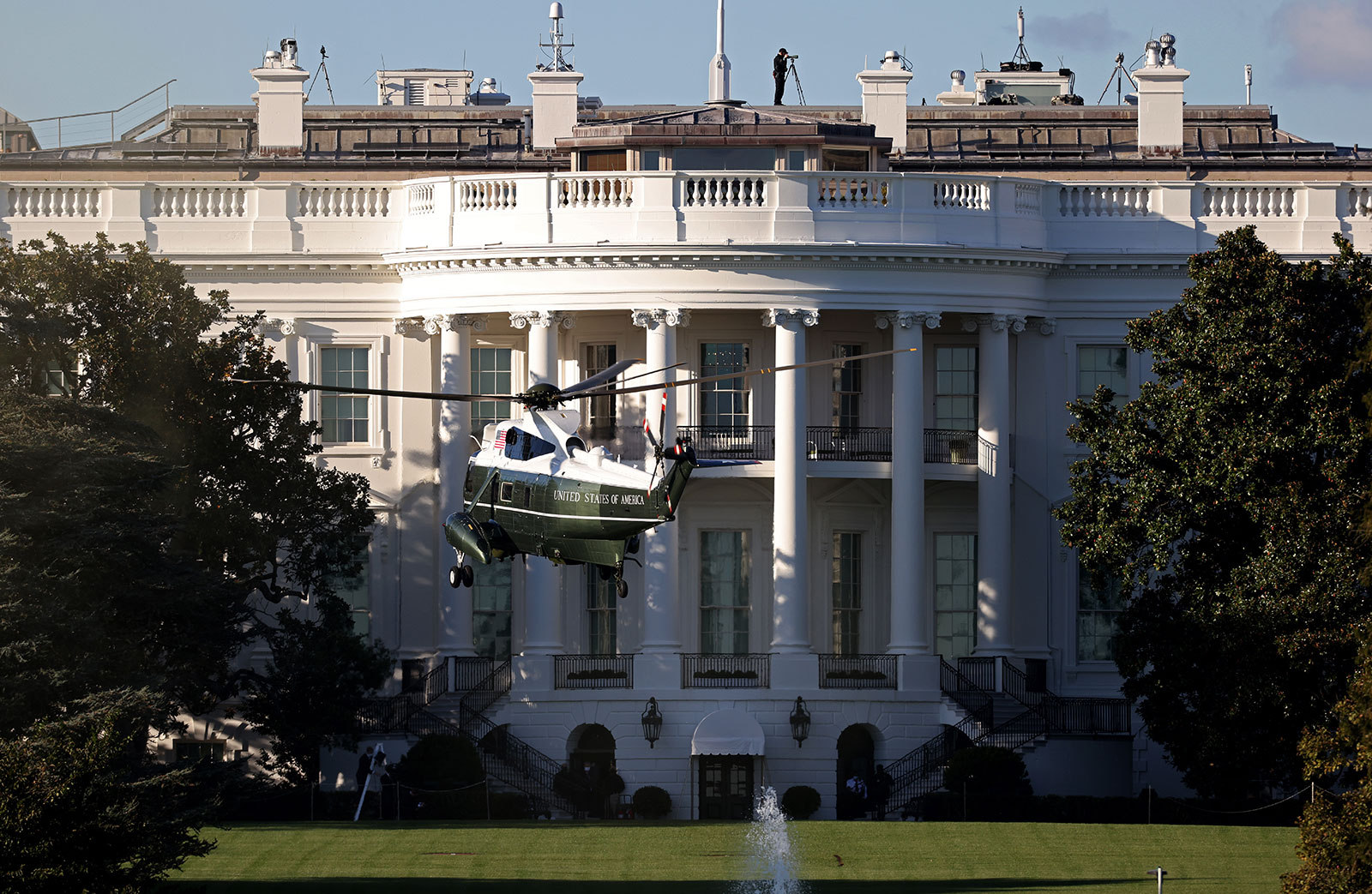 Marine One, the presidential helicopter, arrives at the White House to carry President Donald Trump to Walter Reed National Military Medical Center on October 2.