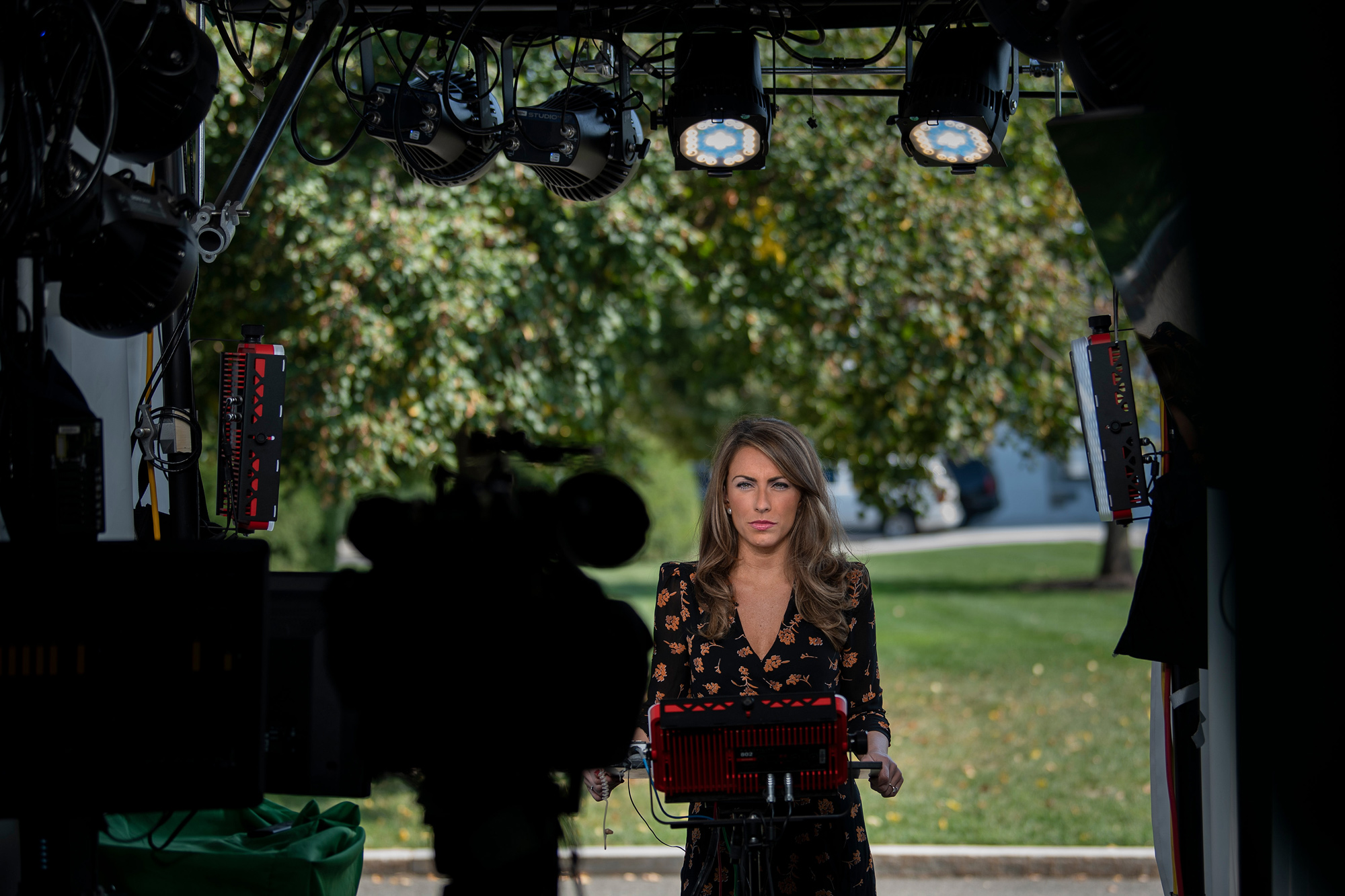 White House Director of Strategic Communications Alyssa Farah waits to speak on FOX News outside the White House on October 4 in Washington, DC.