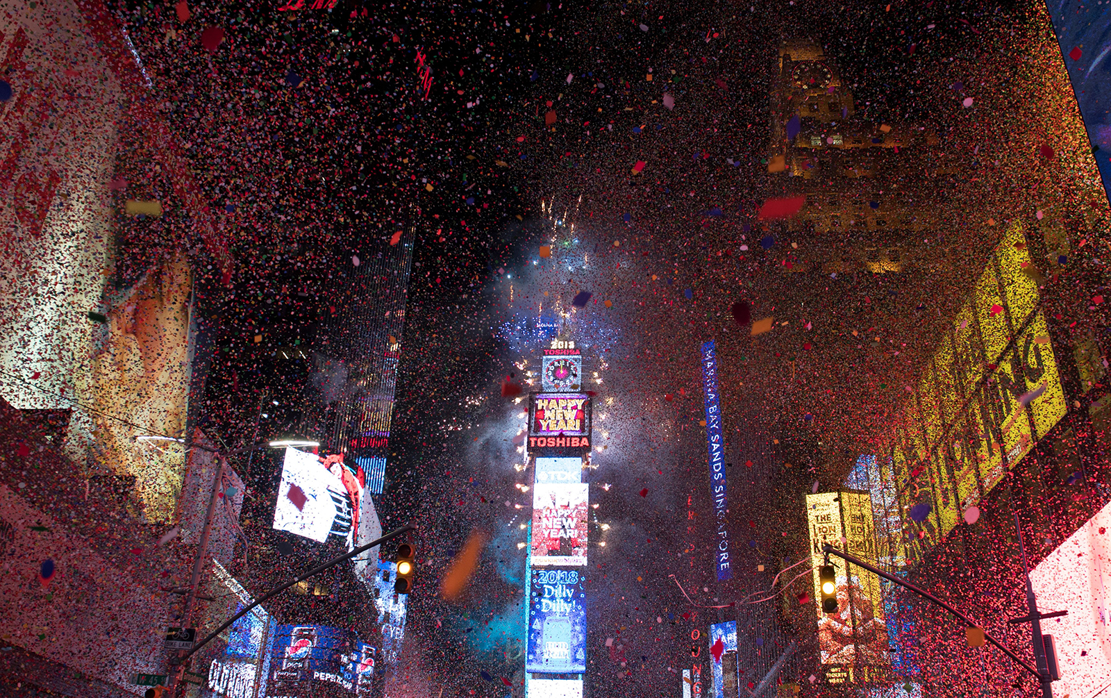 The ball drops to enter in the new year during New Year's Eve celebrations in Times Square on January 1, 2018.