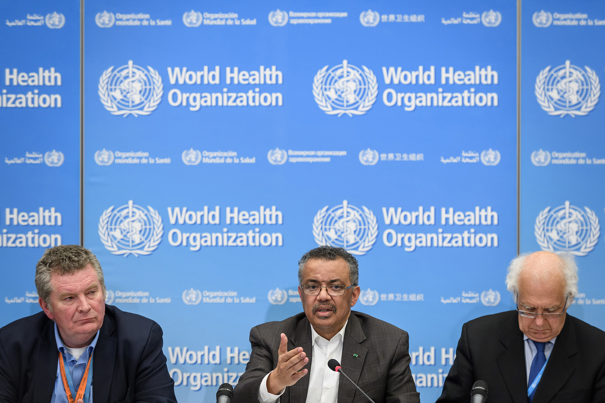 Officials from the World Health Organization discuss the coronavirus on January 30.