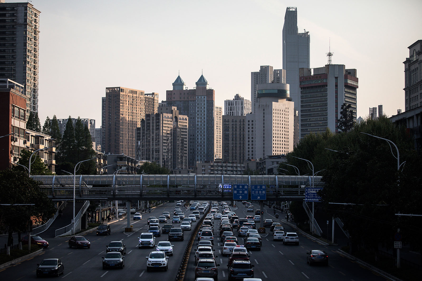 Heavy traffic is seen on a main road in Wuhan, Hubei province, China on April 13.