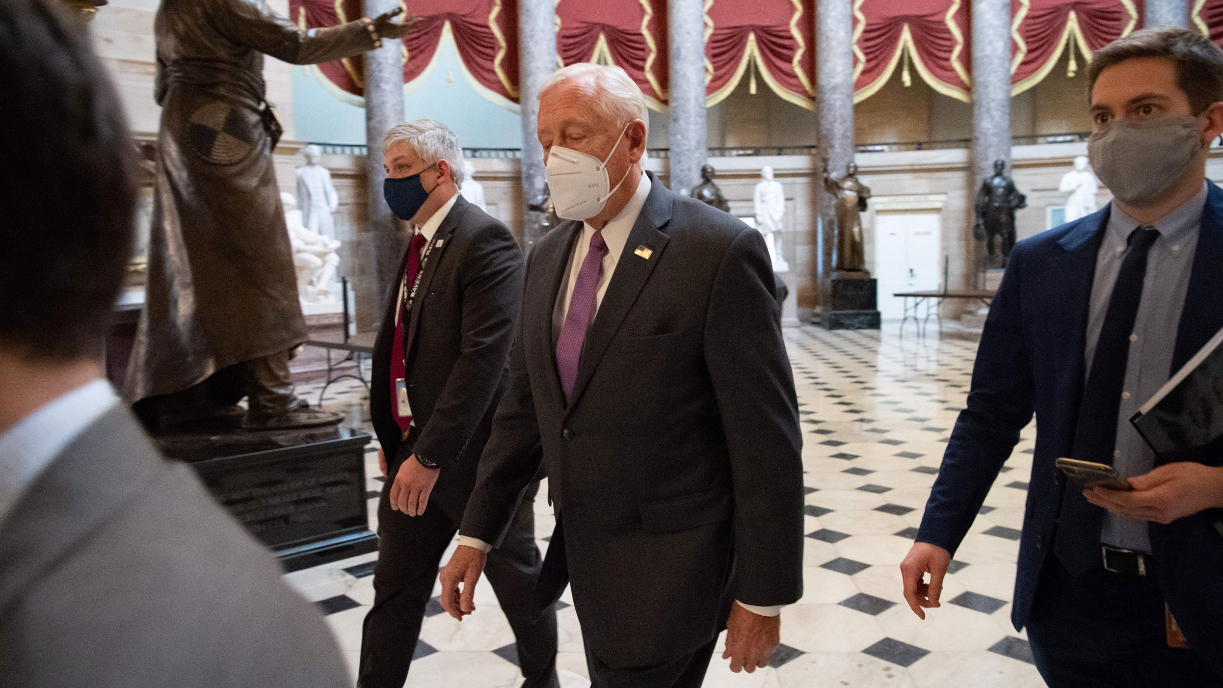 House Majority Leader Steny Hoyer walks to the House Chamber on Monday.
