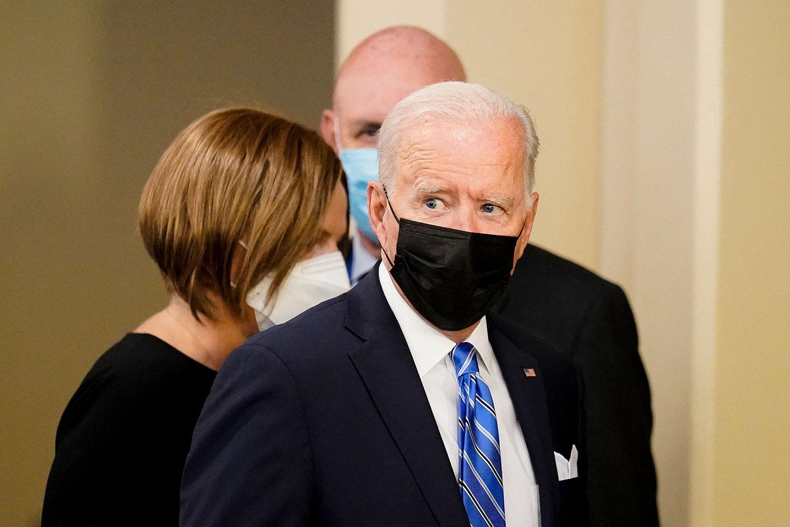 President Joe Biden arrives at the United Nations in New York on September 21.