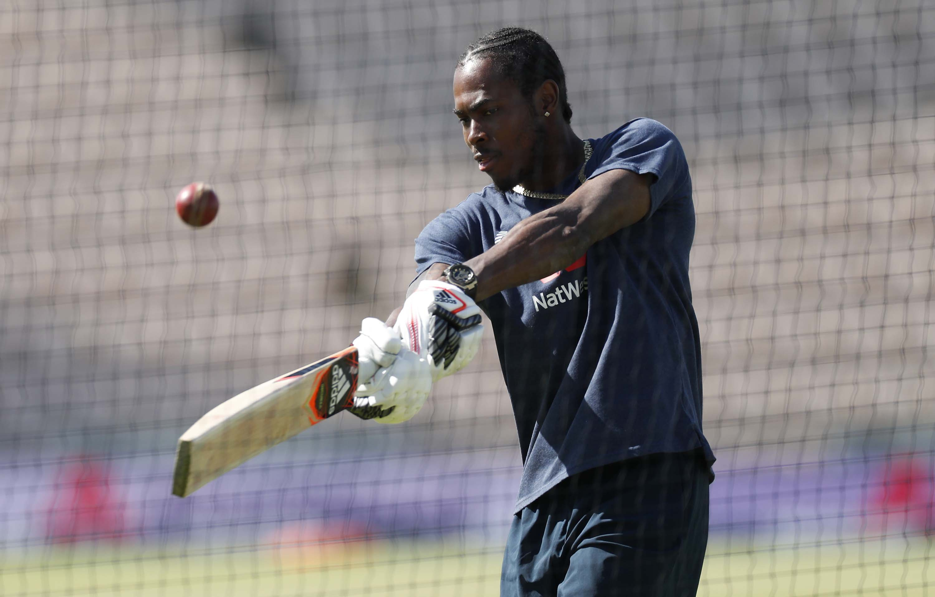 Cricketer Jofra Archer trains in Southampton, England, on July 12.