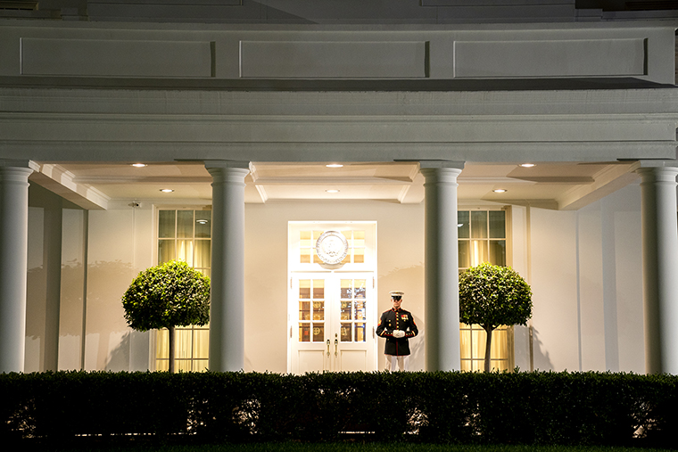 A Marine stands outside the West Wing of the White House in Washington, D.C., on Thursday, September 30.