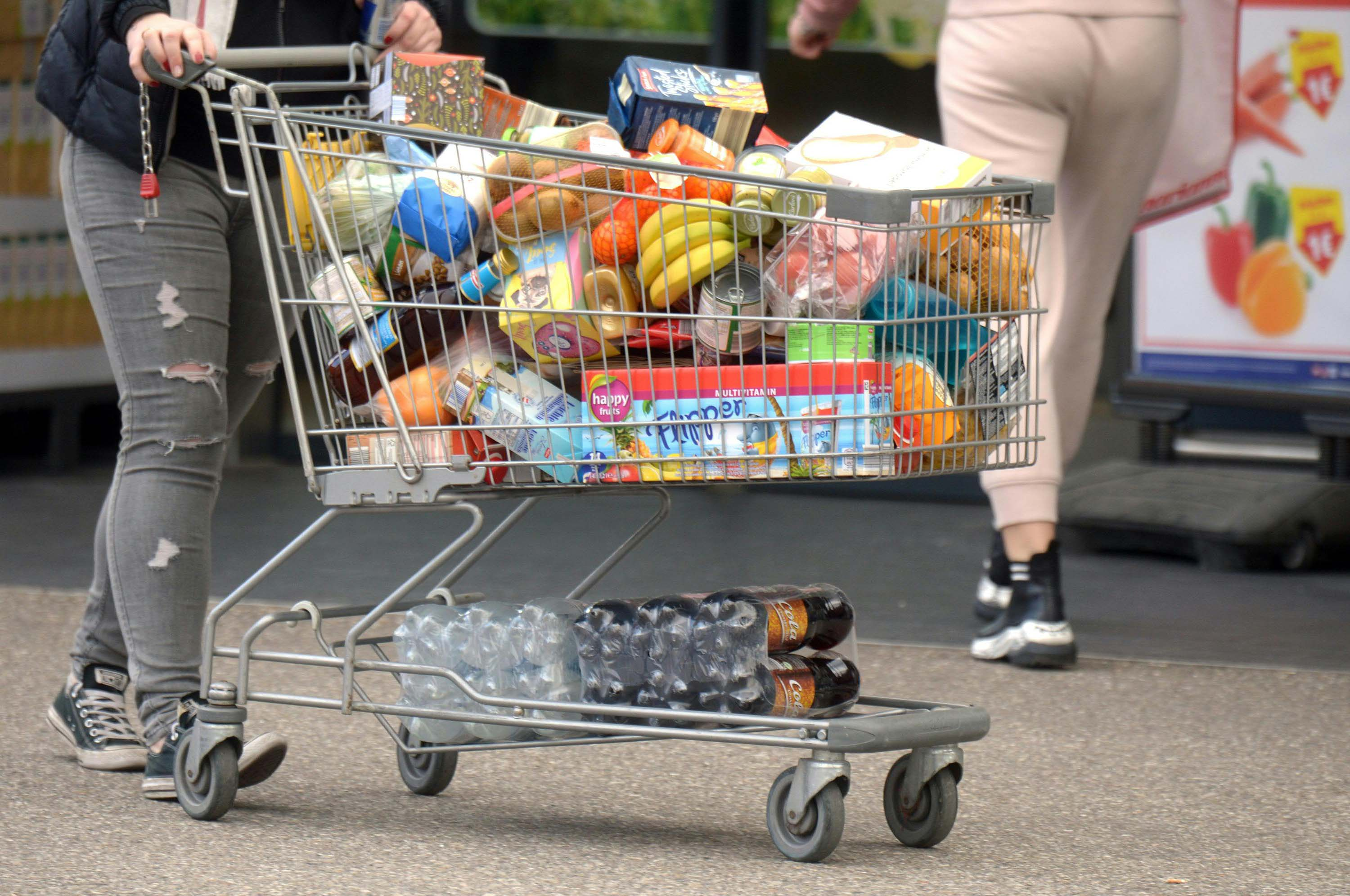A person pushes a shopping cart with groceries in Stockerau, Austria on March 13.